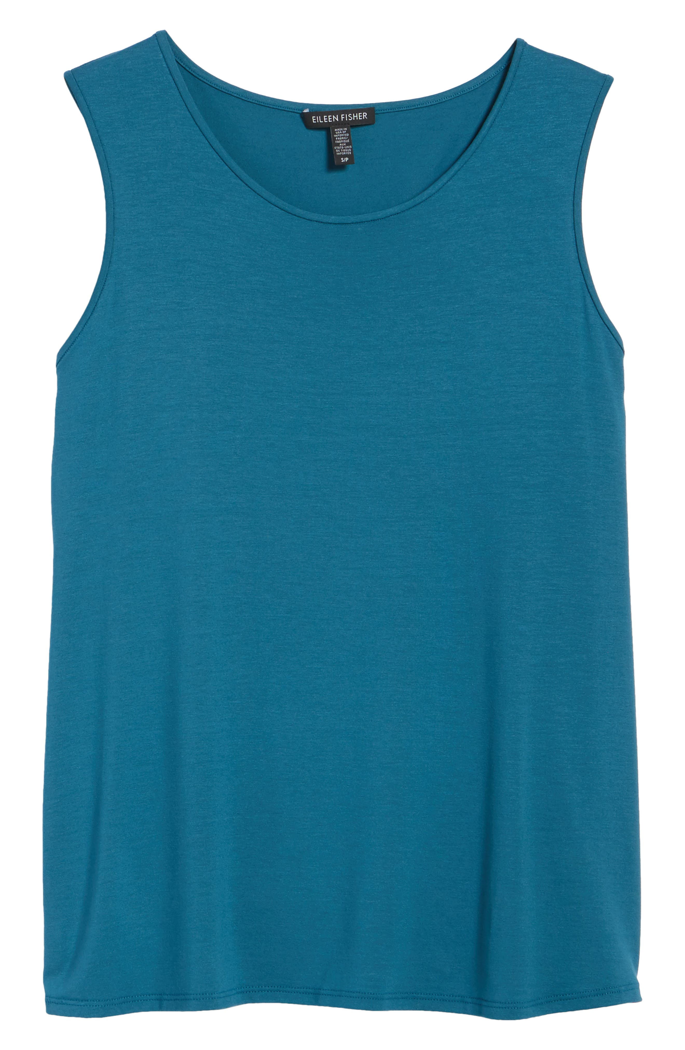 Lightweight Jersey Round Neck Tank,                             Alternate thumbnail 6, color,                             Nile