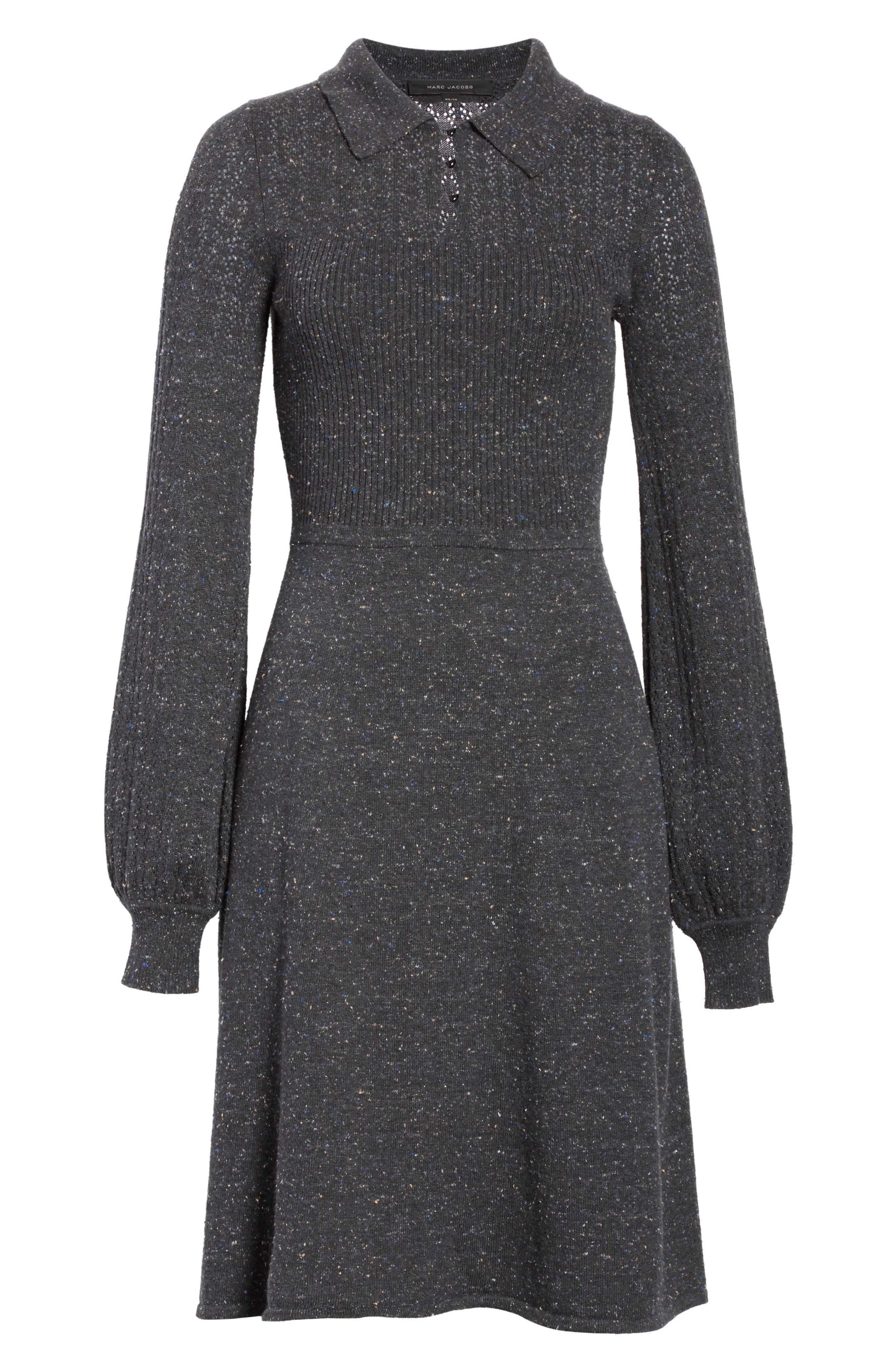 Knit Sweater Dress,                             Alternate thumbnail 7, color,                             Dark Grey
