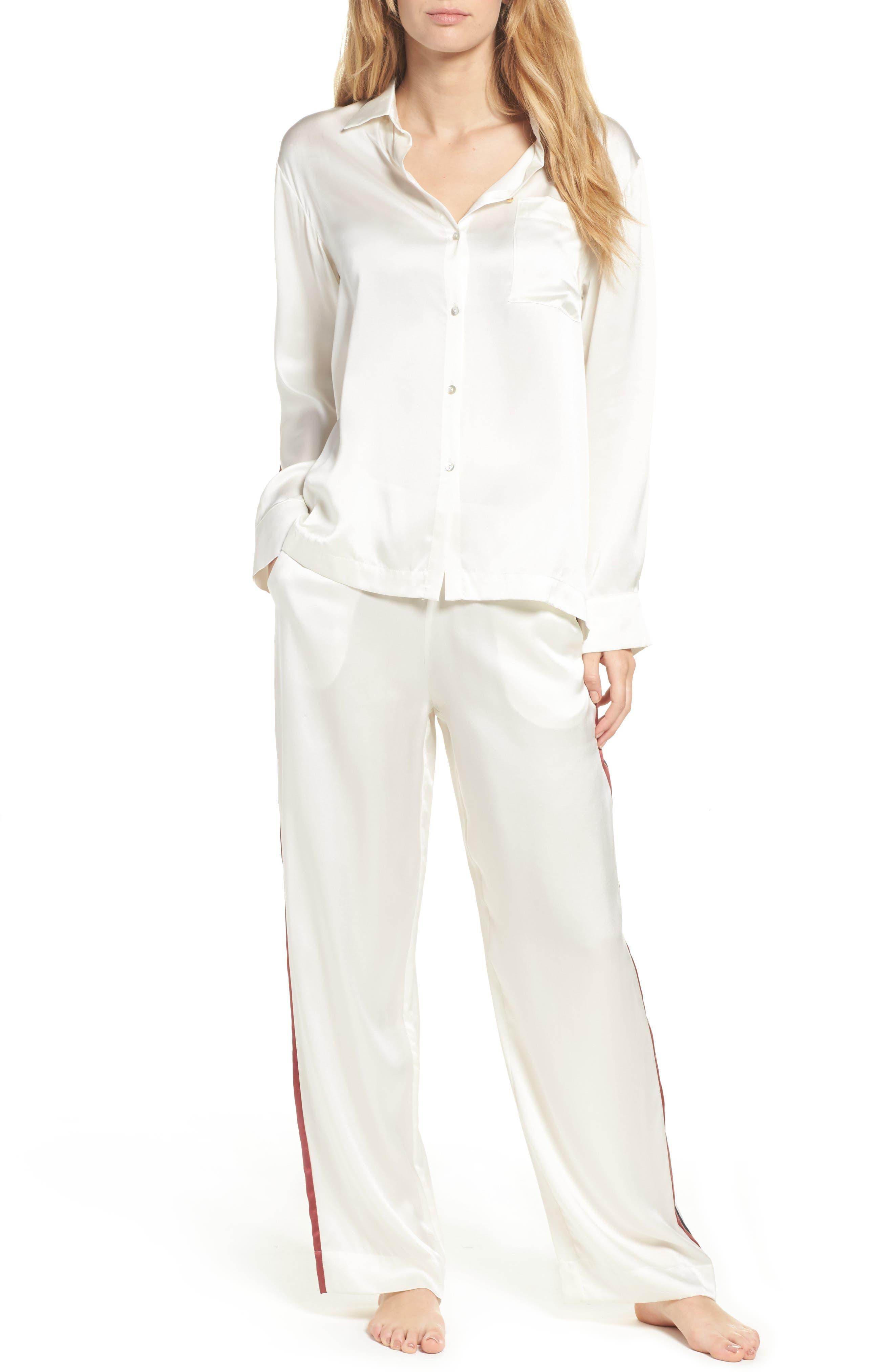 Alternate Image 5  - Asceno by Beautiful Bottoms Side Stripe Silk Pajama Pants