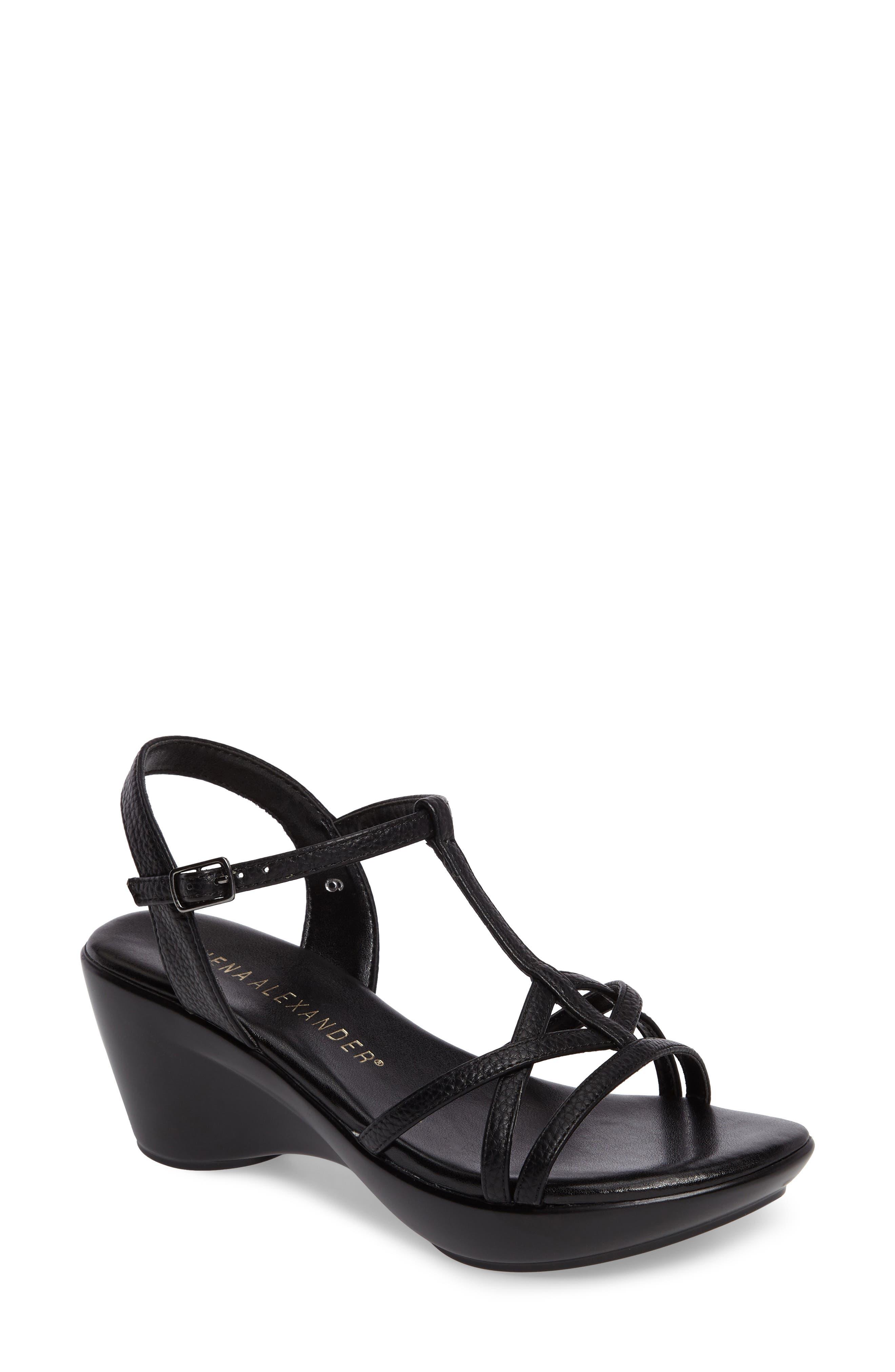 Cassort T-Strap Sandal,                         Main,                         color, Black Faux Leather