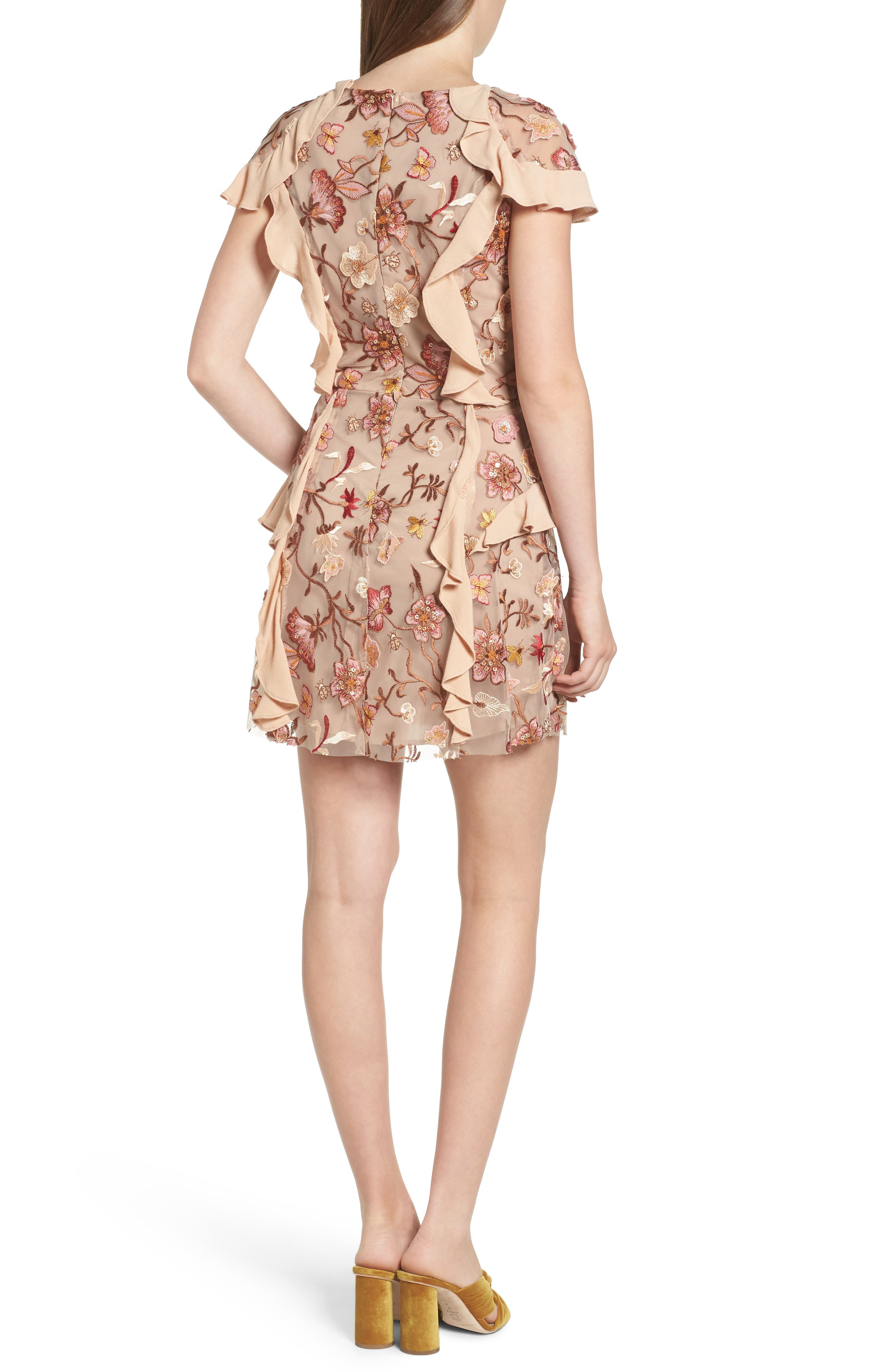 Botanical Embroidered Ruffle Minidress,                             Alternate thumbnail 2, color,                             Nude Floral
