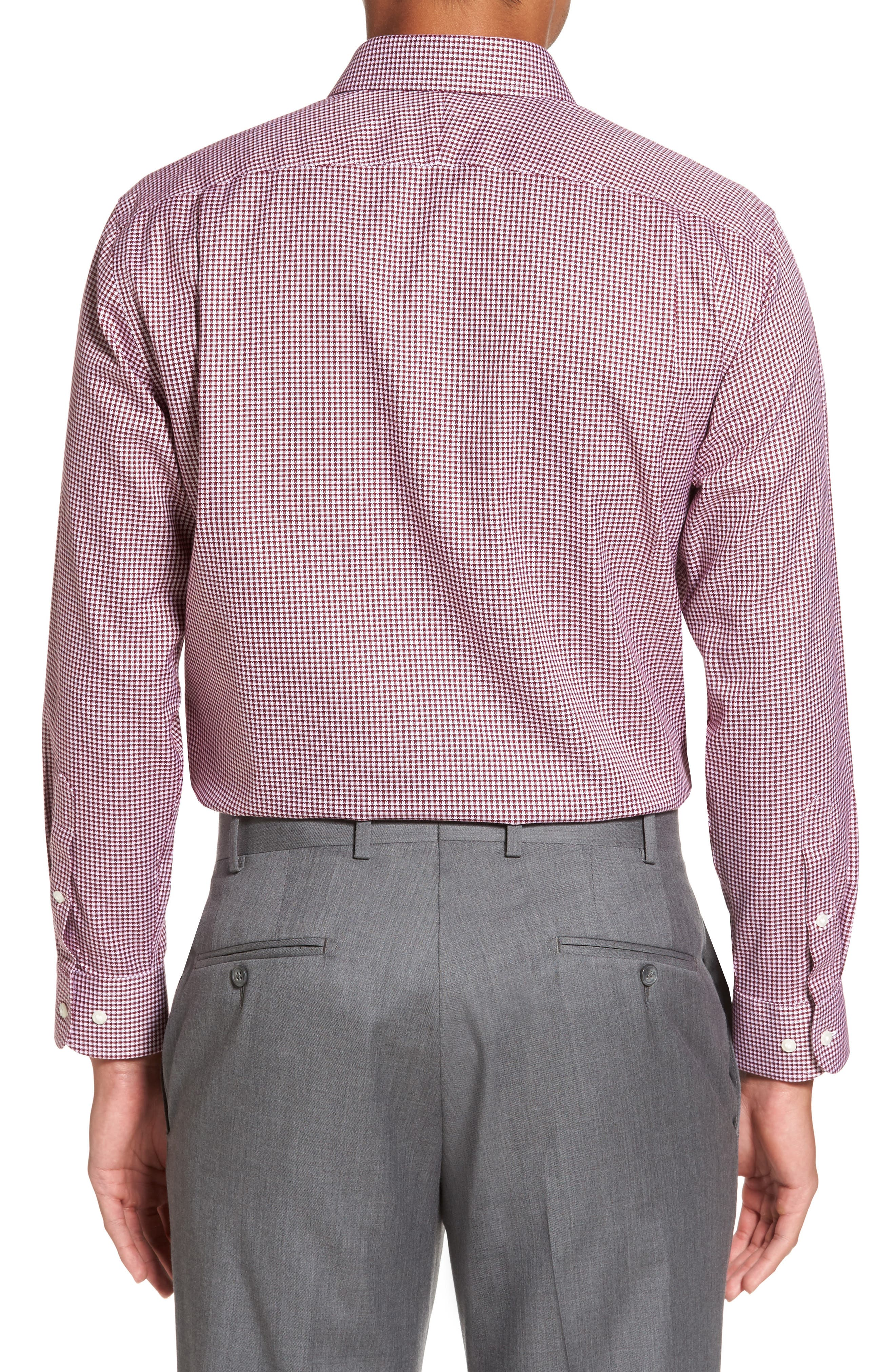 Smartcare<sup>™</sup> Trim Fit Check Dress Shirt,                             Alternate thumbnail 3, color,                             Burgundy Windsor