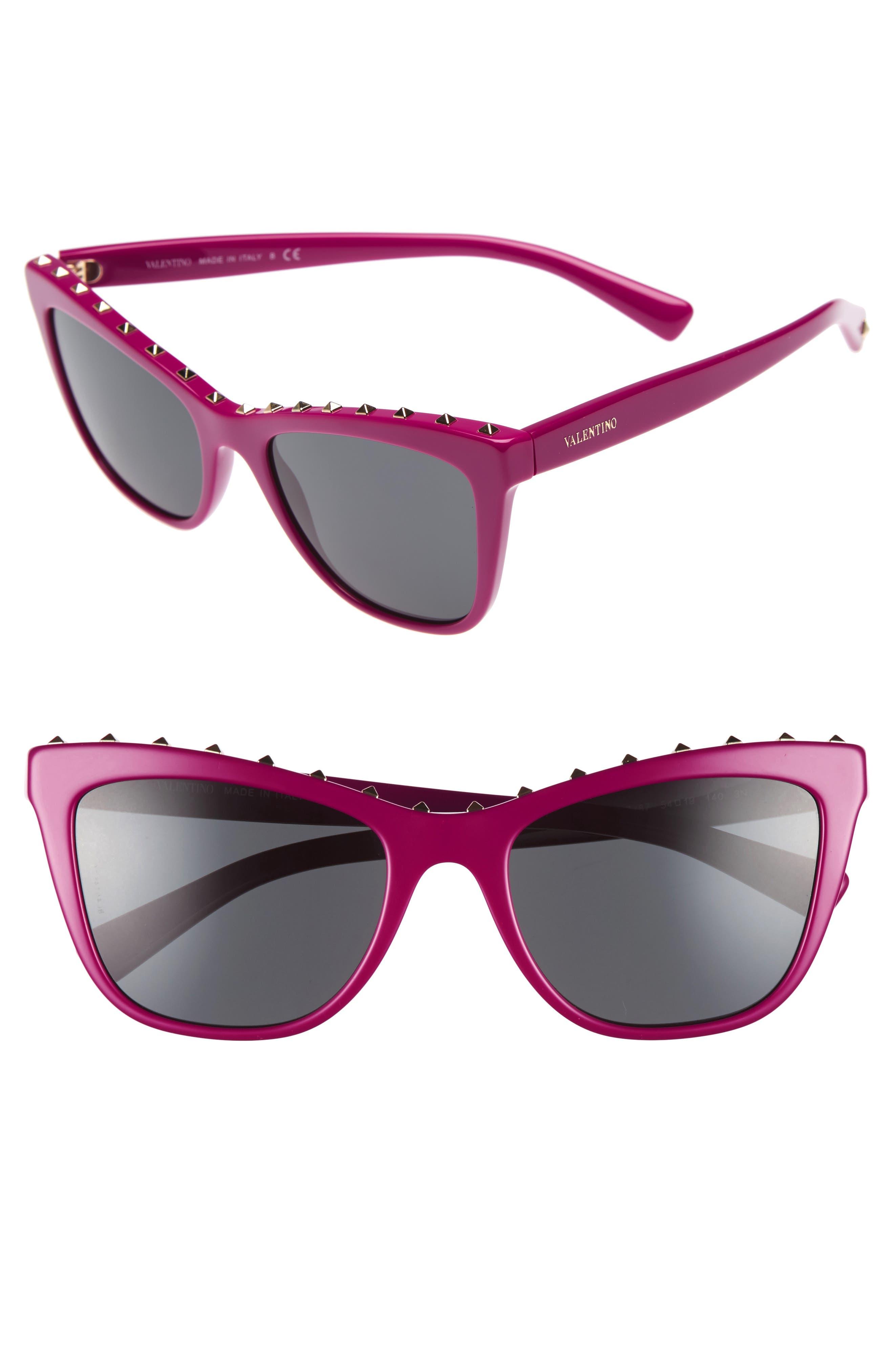 Rockstud 54mm Cat Eye Sunglasses,                             Main thumbnail 1, color,                             Fuchsia
