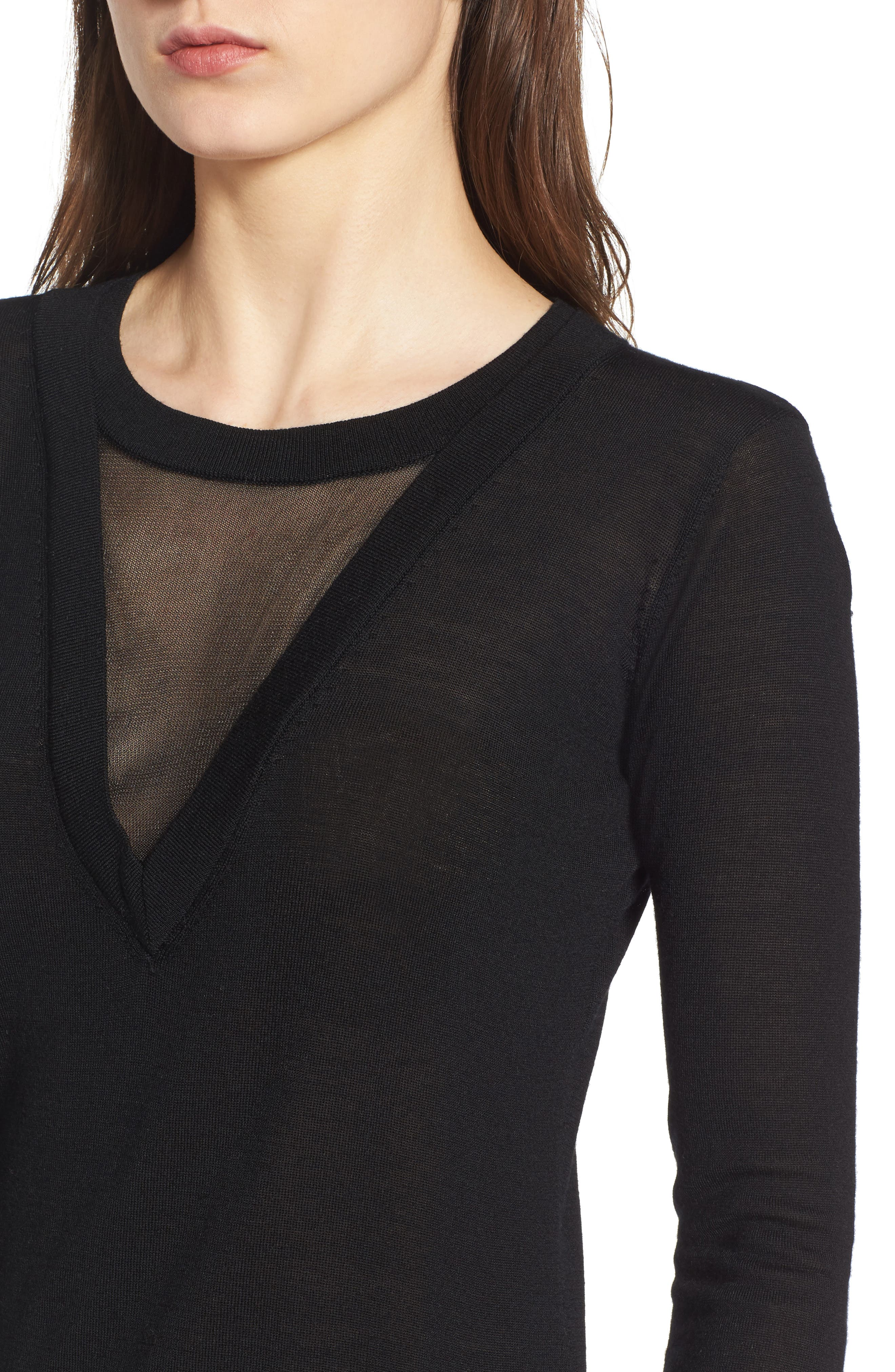 Chivalry Mesh Sweater,                             Alternate thumbnail 4, color,                             Black