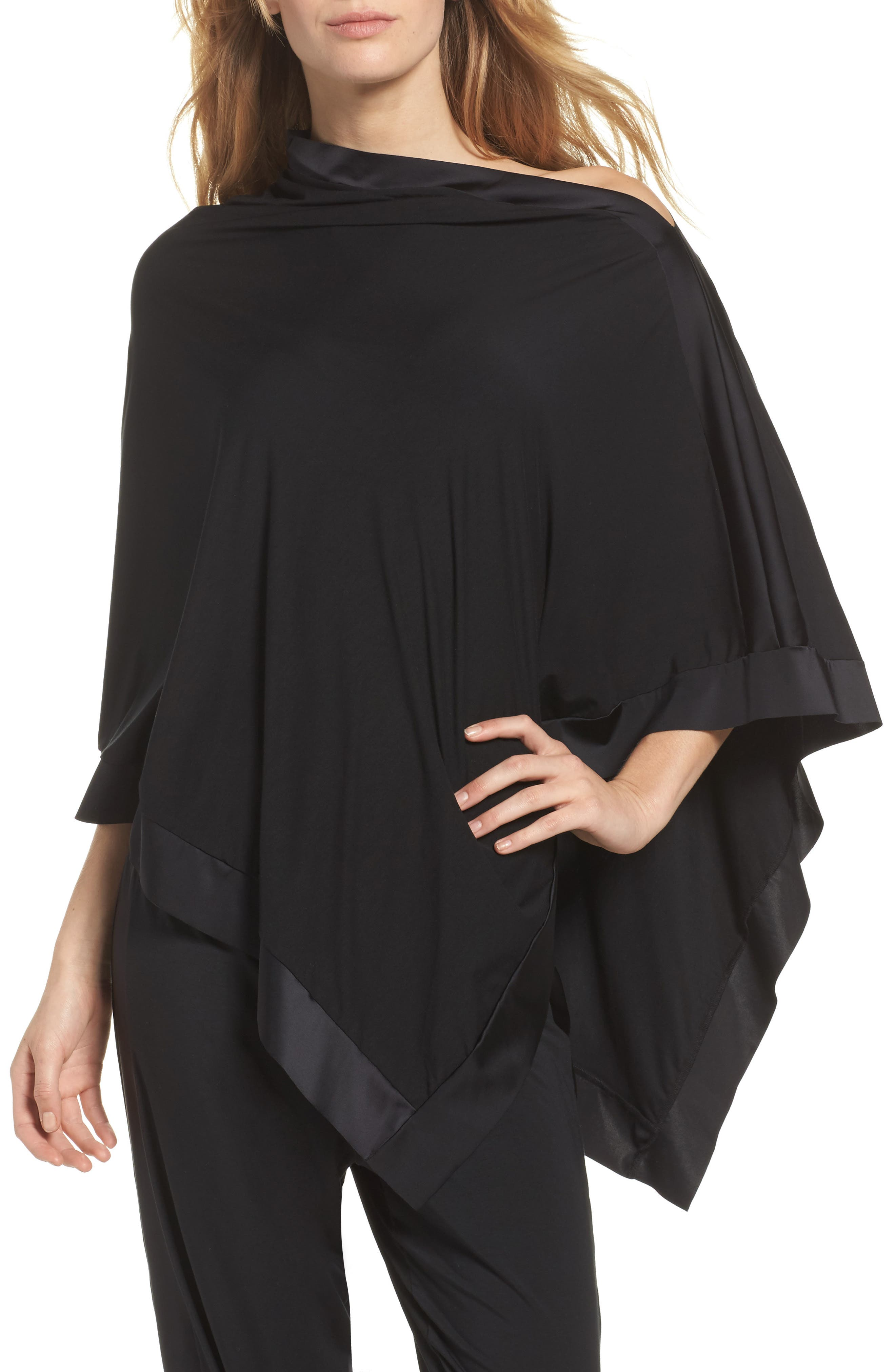 Butter & Satin Asymmetrical Poncho,                         Main,                         color, Midnight