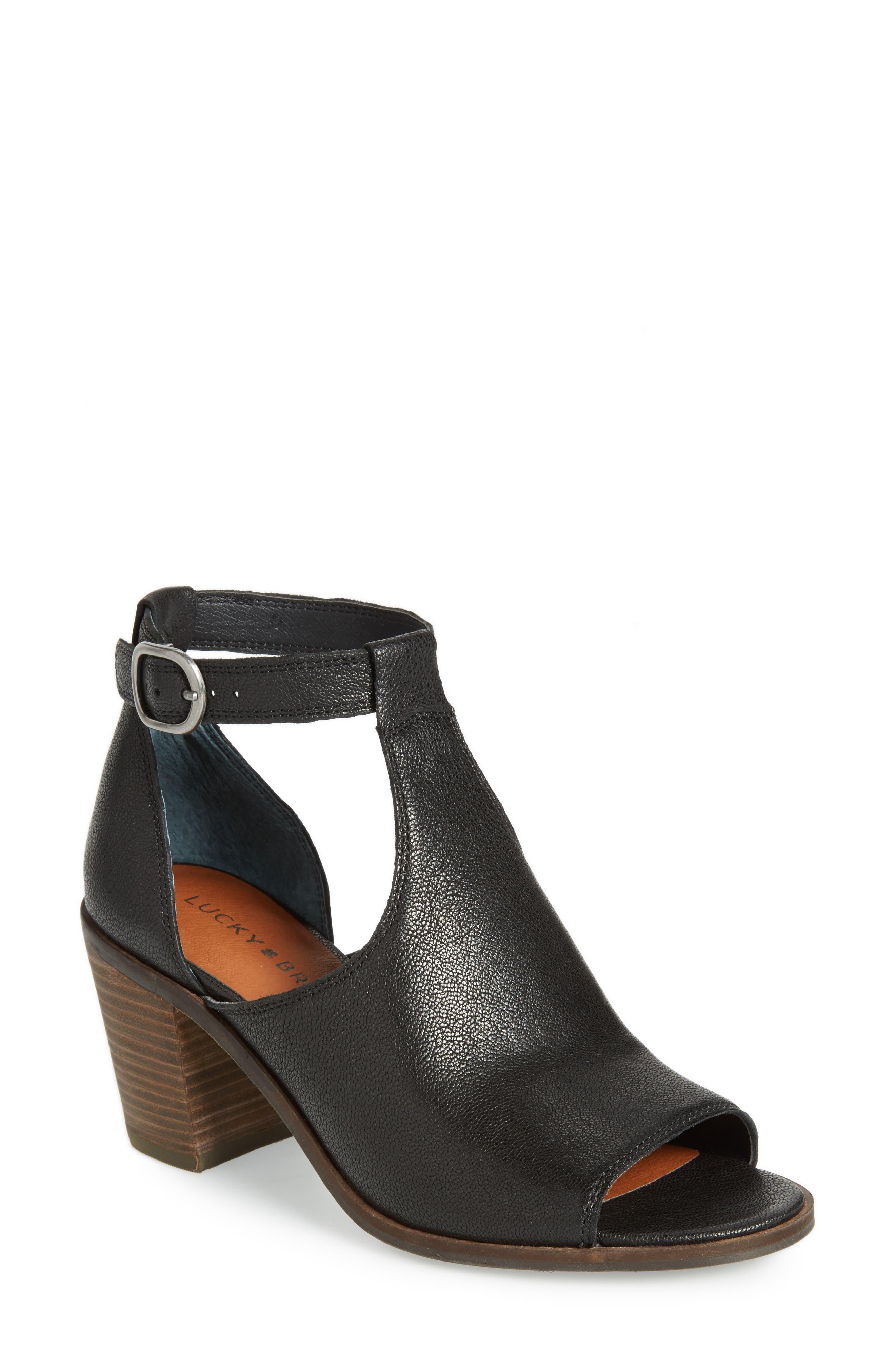 Kadian Block Heel Sandal,                             Main thumbnail 1, color,                             Black Leather
