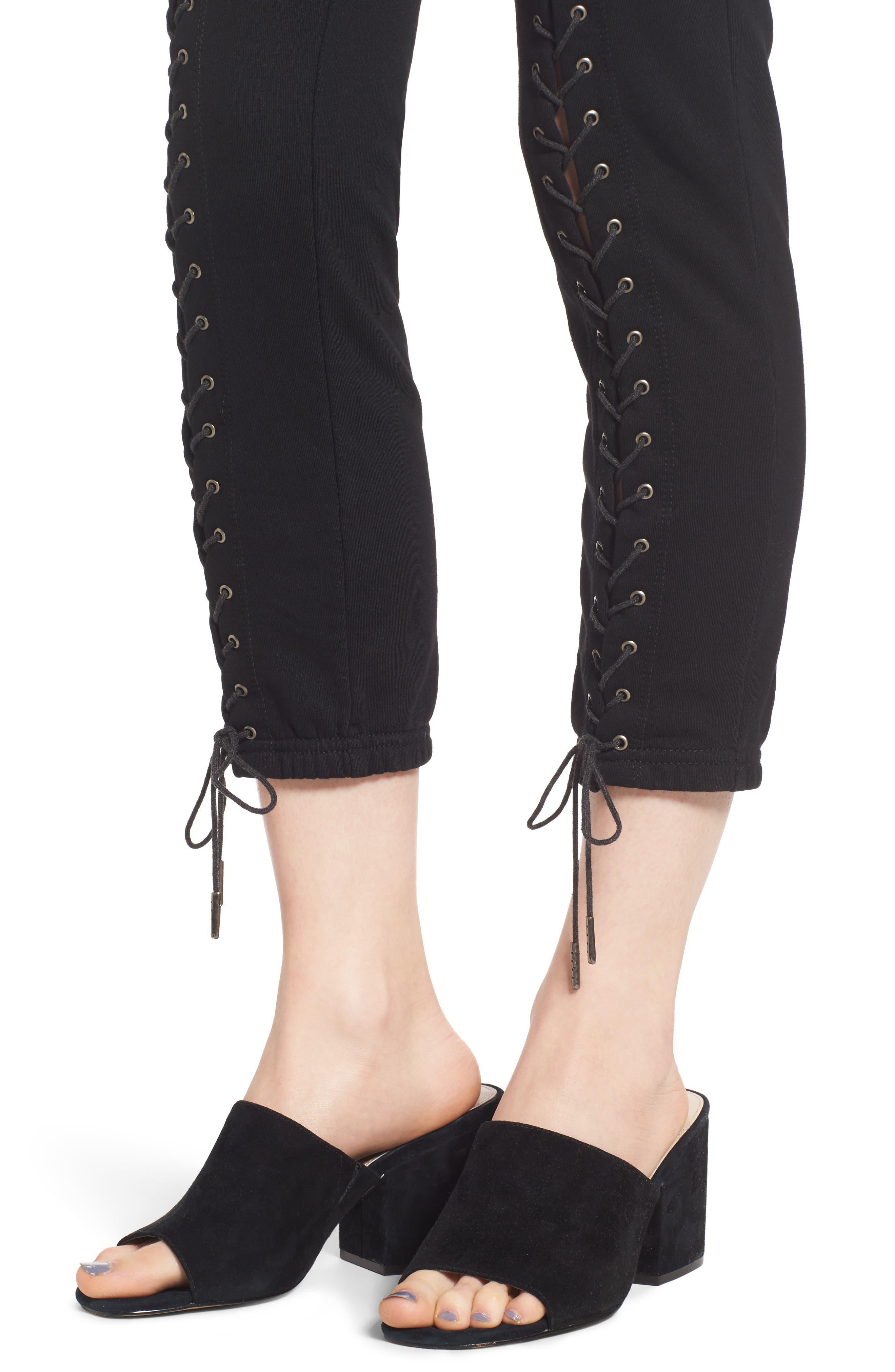 Lace-Up Crop Sweatpants,                             Alternate thumbnail 4, color,                             Black