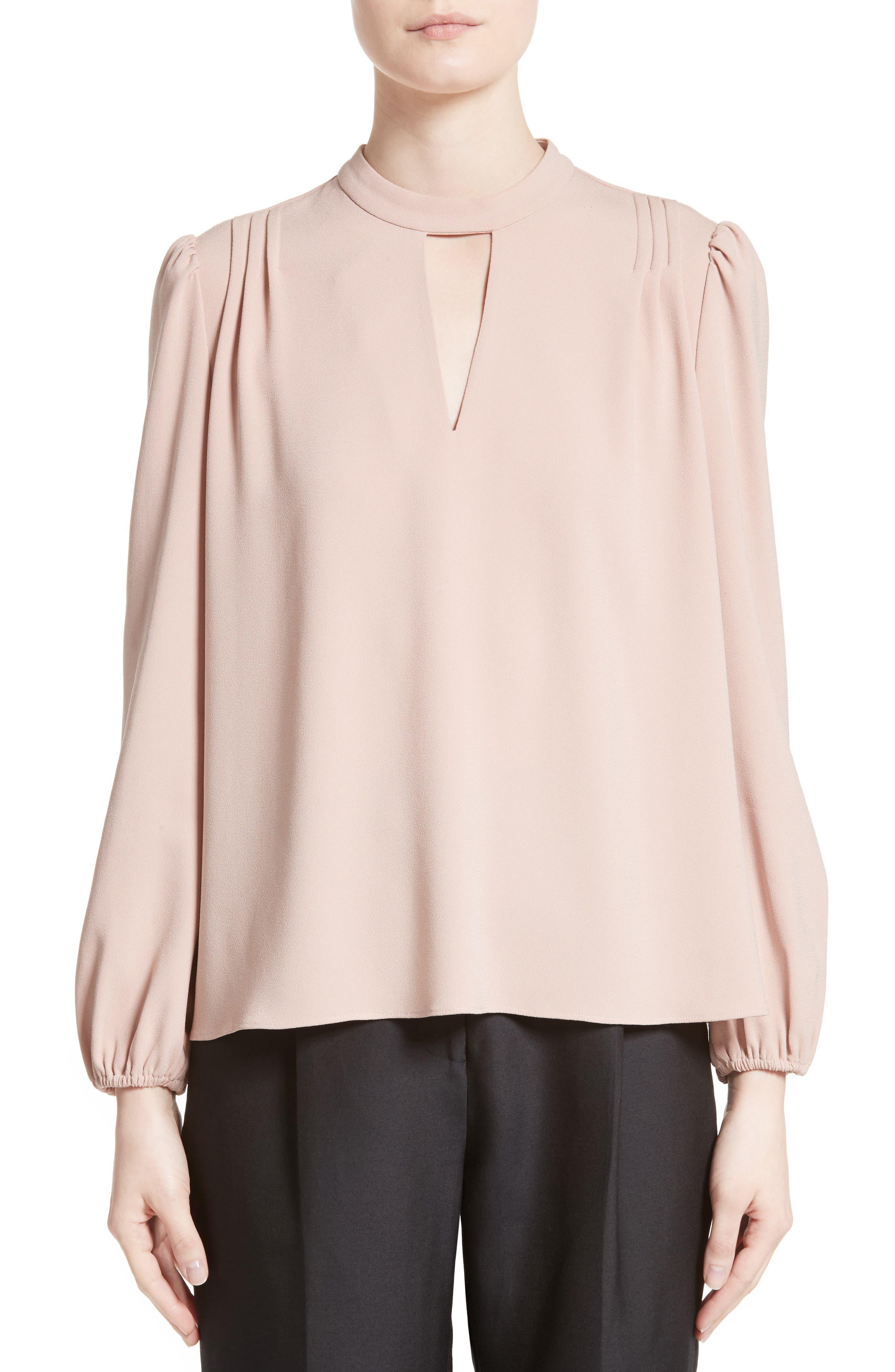 Crepe Peasant Blouse,                         Main,                         color, Blush