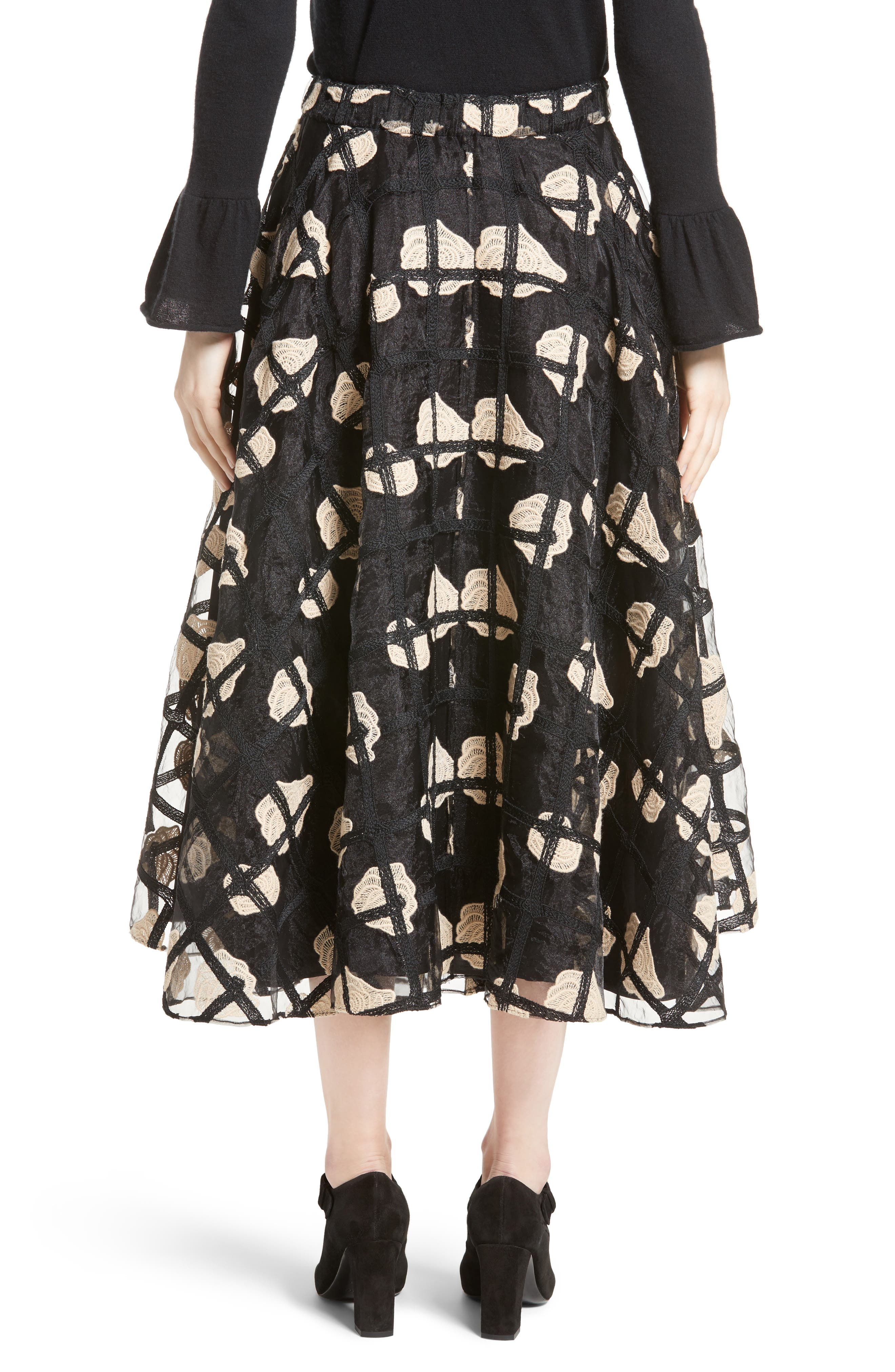 Floral Cage Lace Midi Skirt,                             Alternate thumbnail 3, color,                             Black