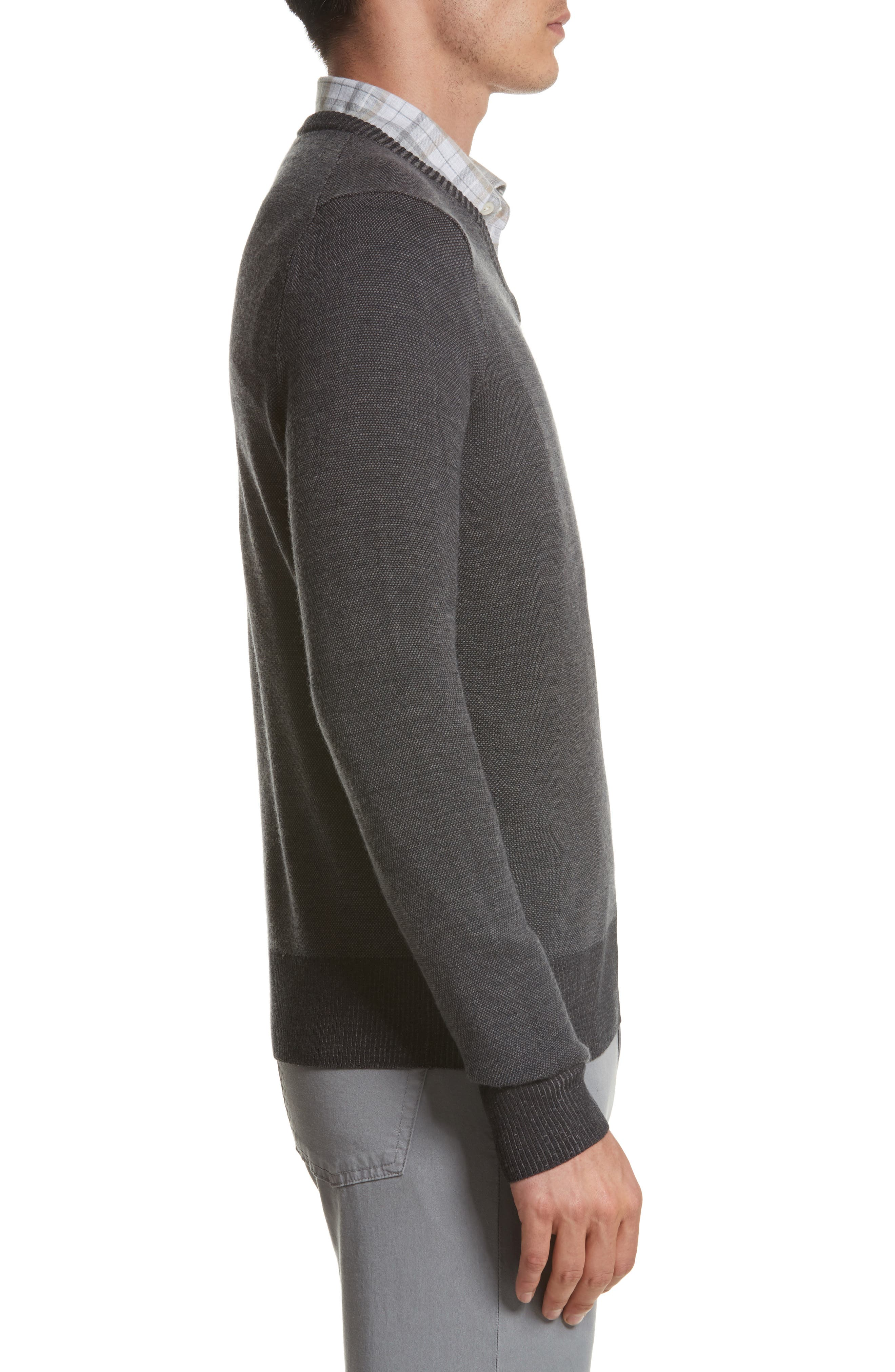 Regular Fit Wool Sweater,                             Alternate thumbnail 3, color,                             Charcoal