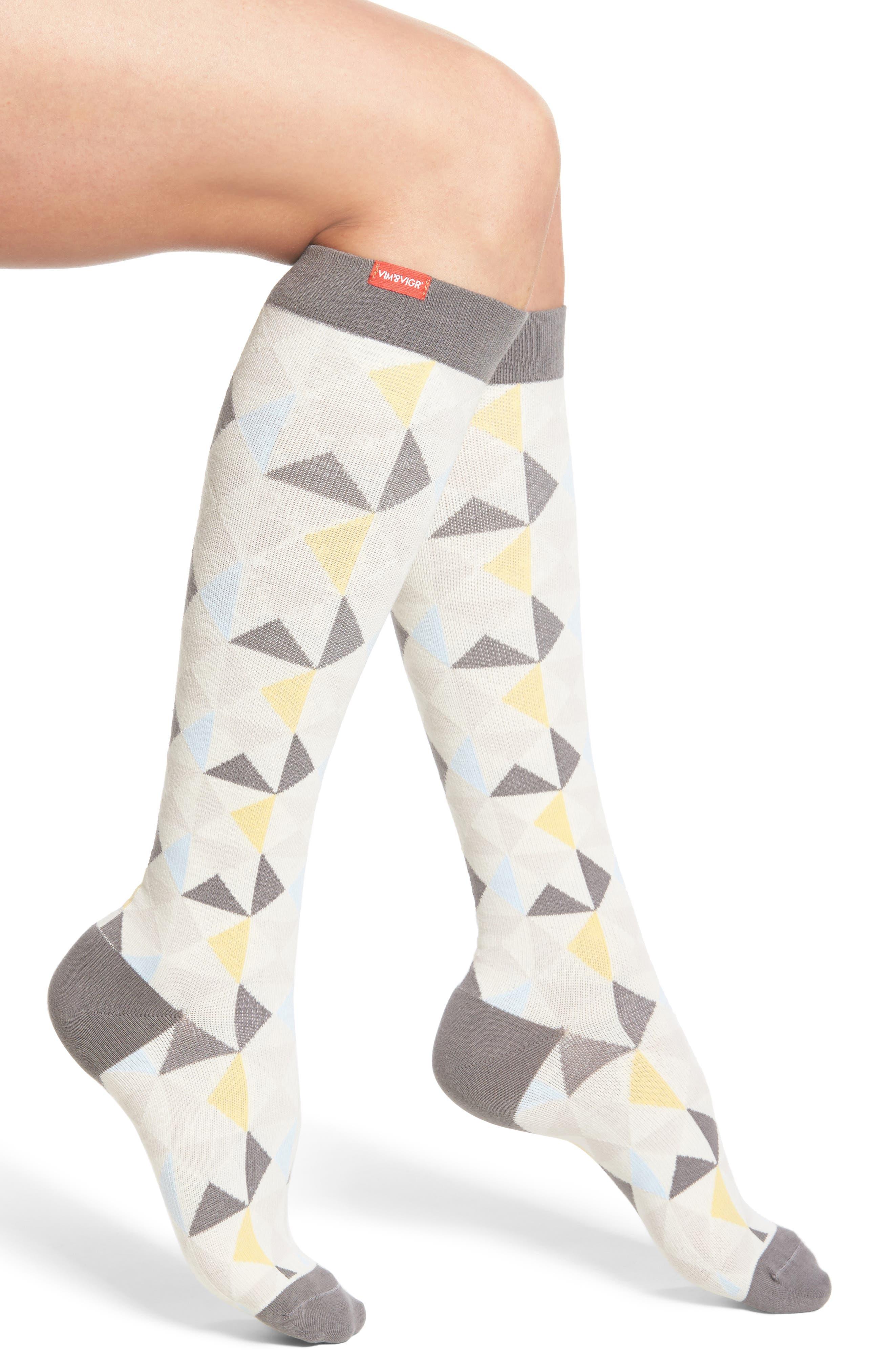 Compression Knee High Socks,                             Main thumbnail 1, color,                             Grey/ Gold