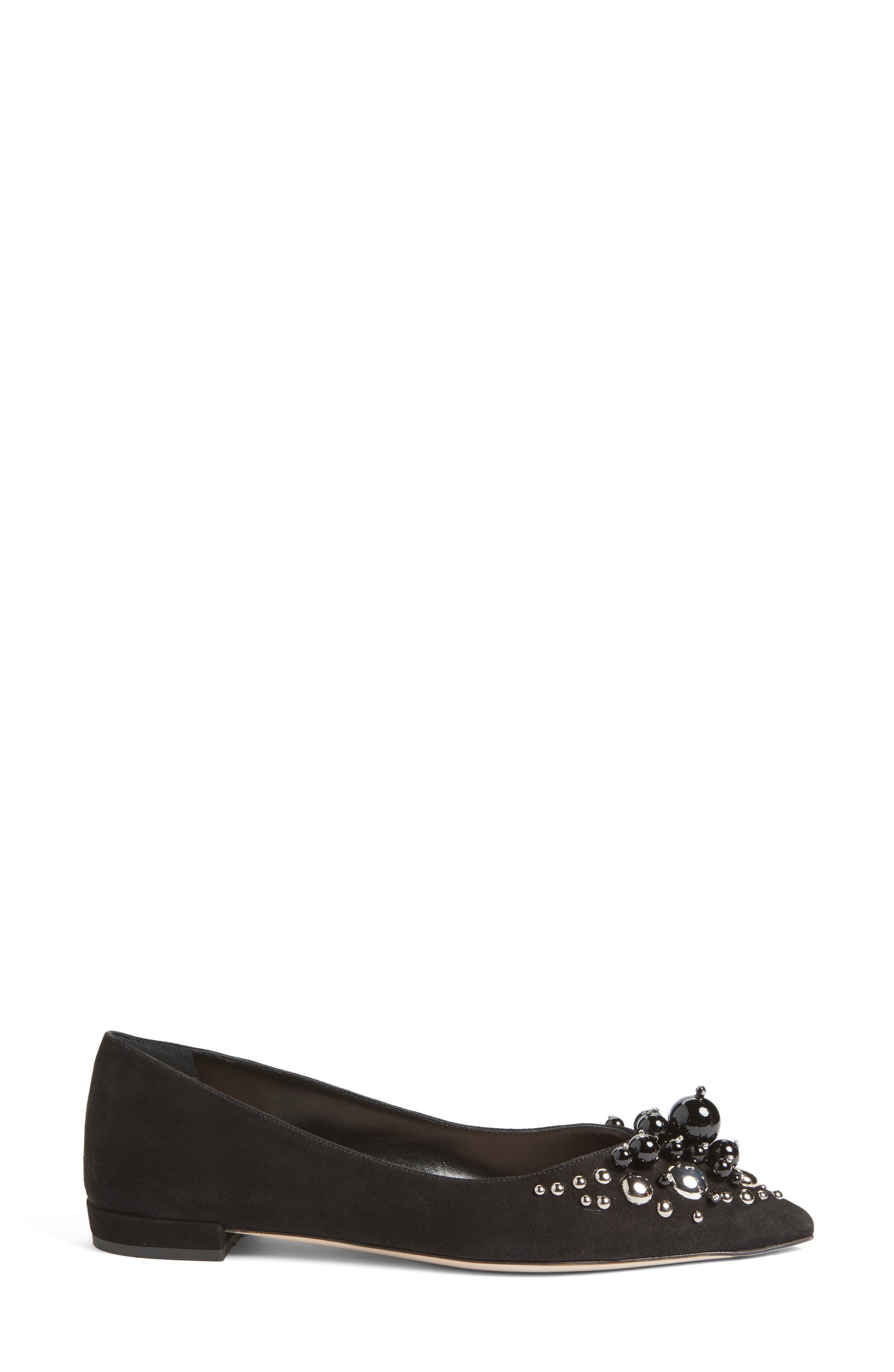 Alternate Image 3  - Miu Miu Embellished Pointy Toe Flat (Women)