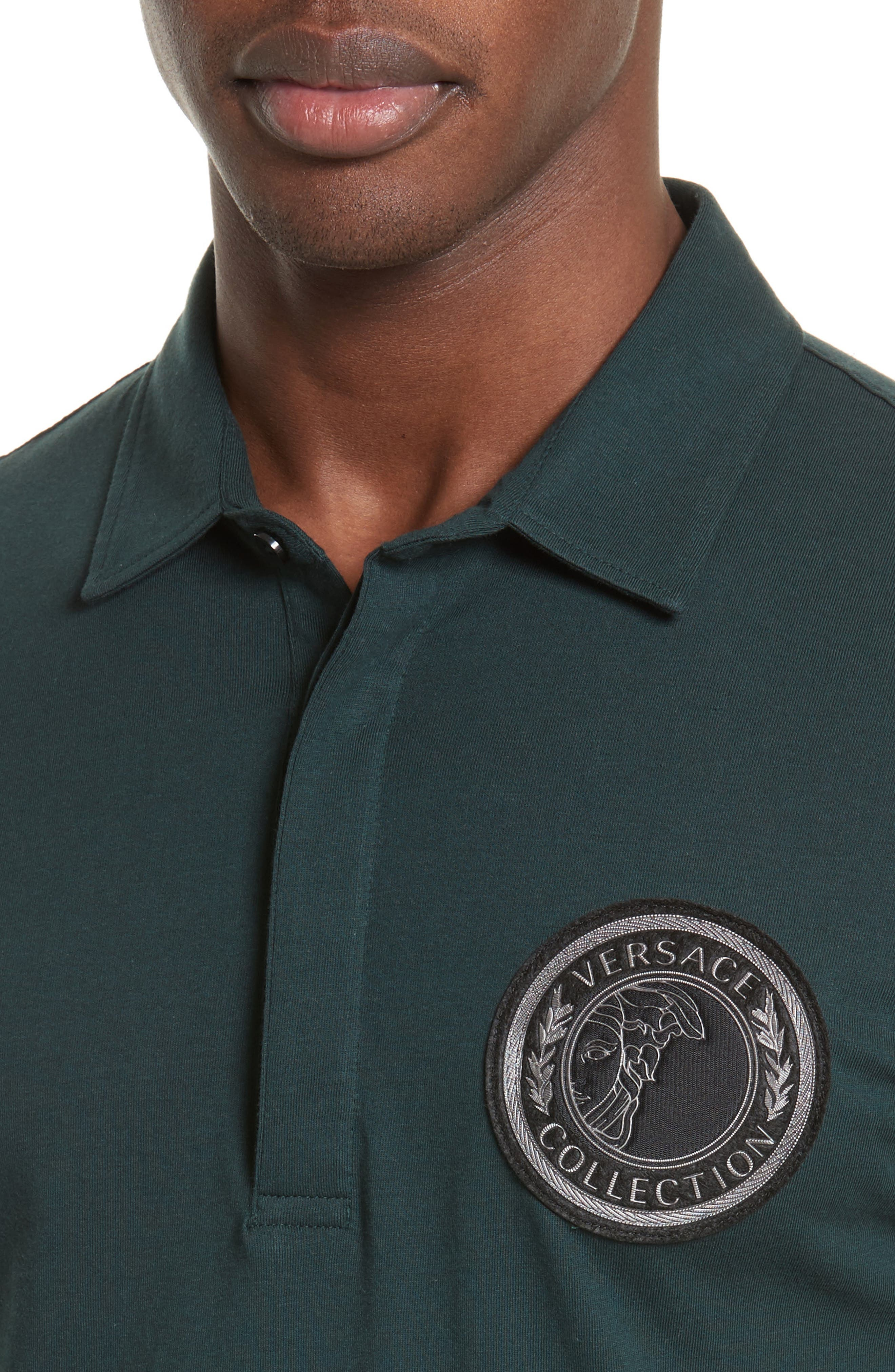 Crest Patch Jersey Polo,                             Alternate thumbnail 4, color,                             Jungle Green