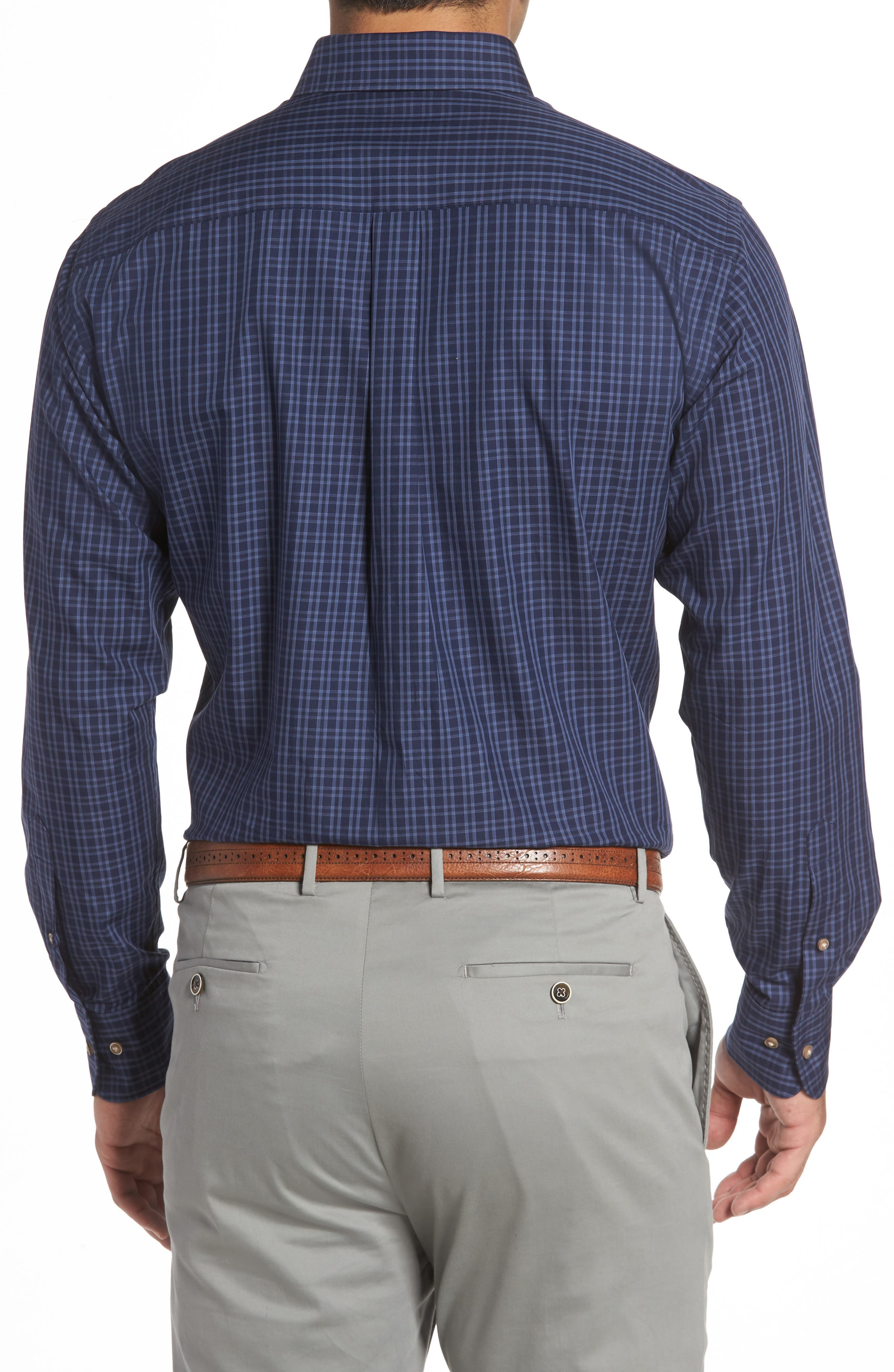 Autumn Check Regular Fit Sport Shirt,                             Alternate thumbnail 2, color,                             Seaboard Navy