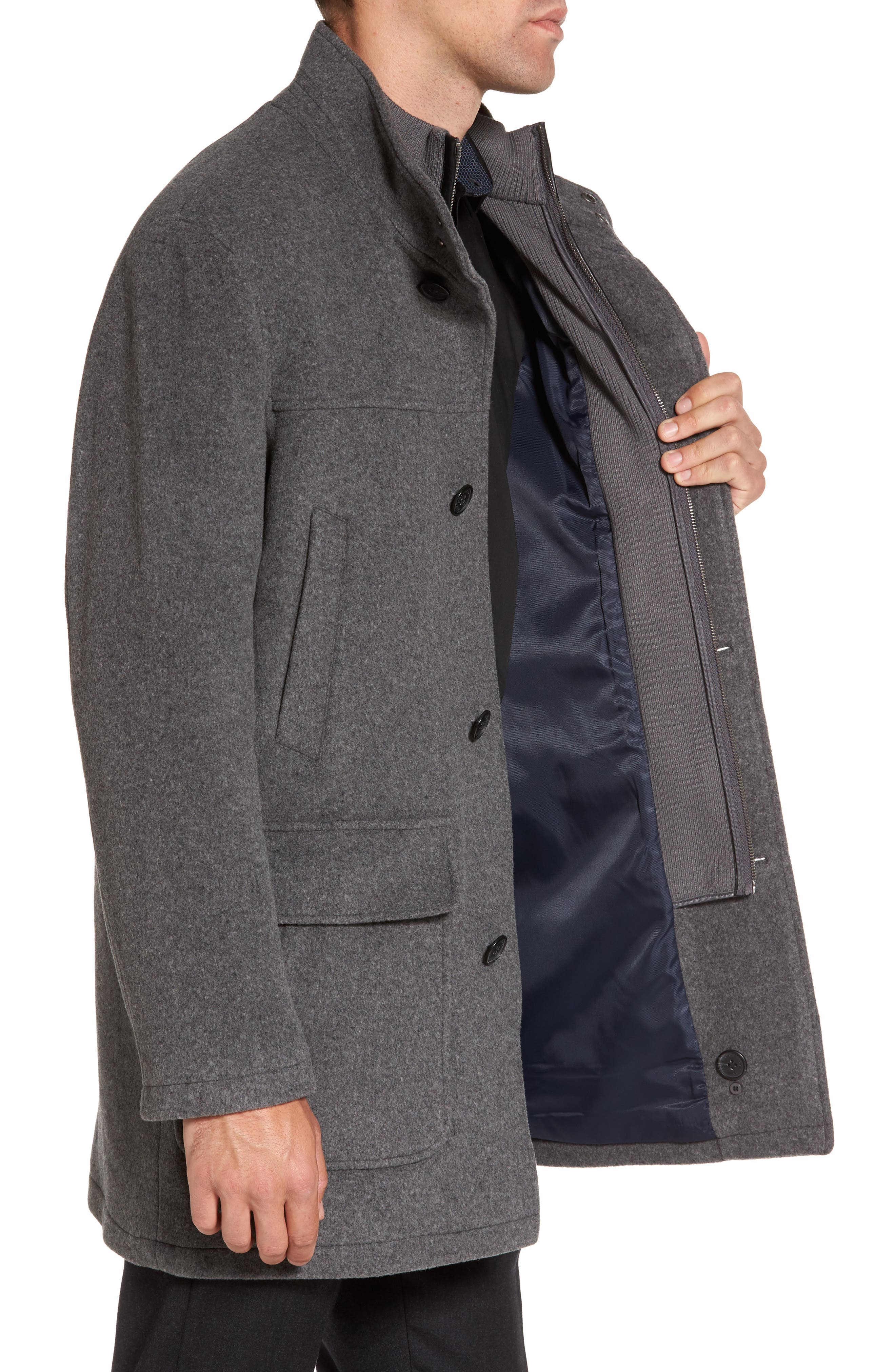 Wool Blend Topcoat with Inset Bib,                             Alternate thumbnail 4, color,                             Light Grey