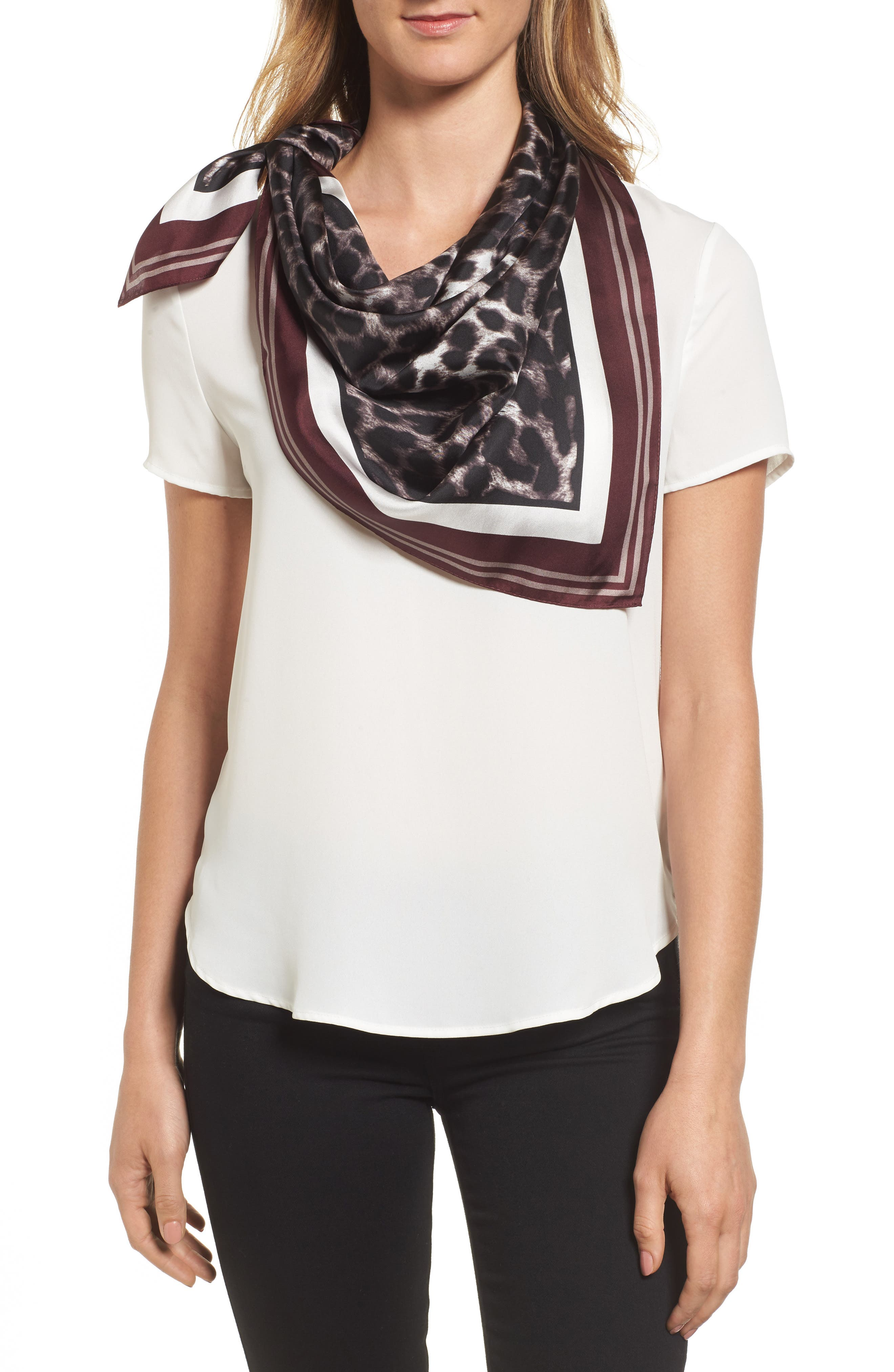 Main Image - Vince Camuto Racing Leopard Silk Square Scarf