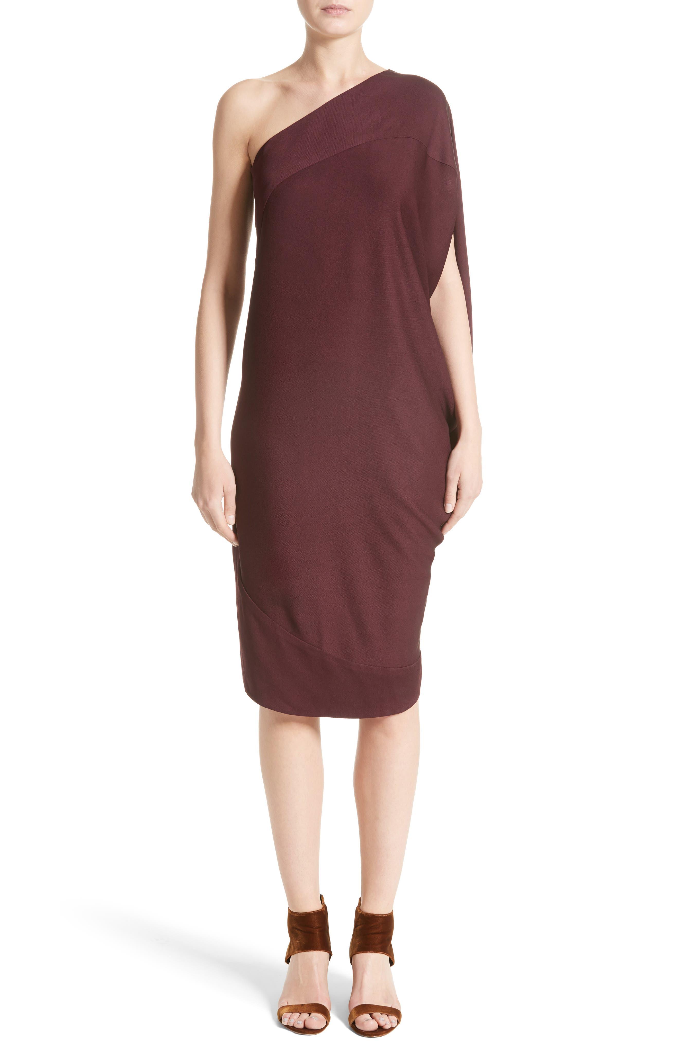 Lui Eco Drape One-Shoulder Dress,                         Main,                         color, Merlot