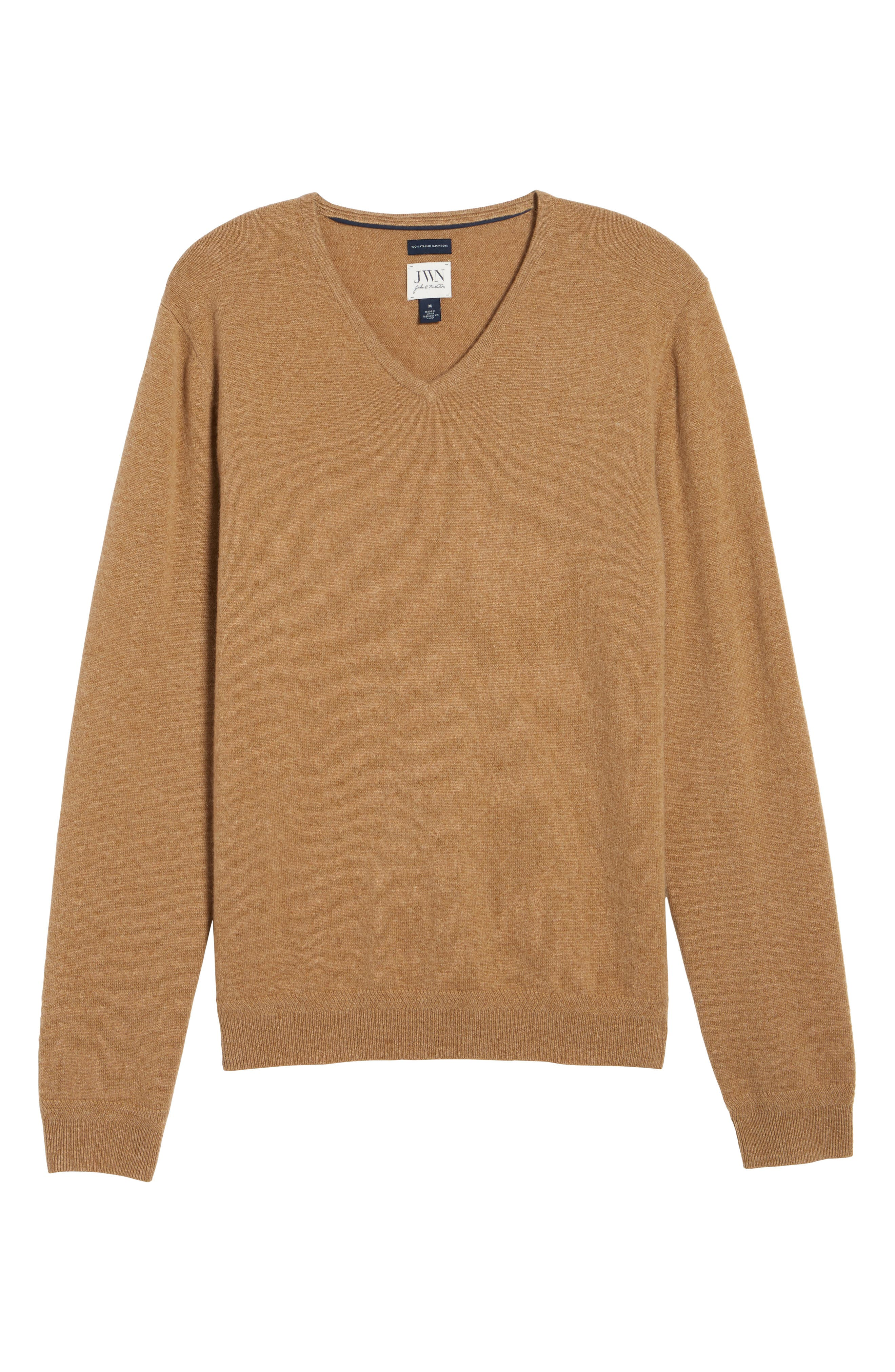 John W. Nordstrom Cashmere V-Neck Sweater,                             Alternate thumbnail 6, color,                             Brown Bear