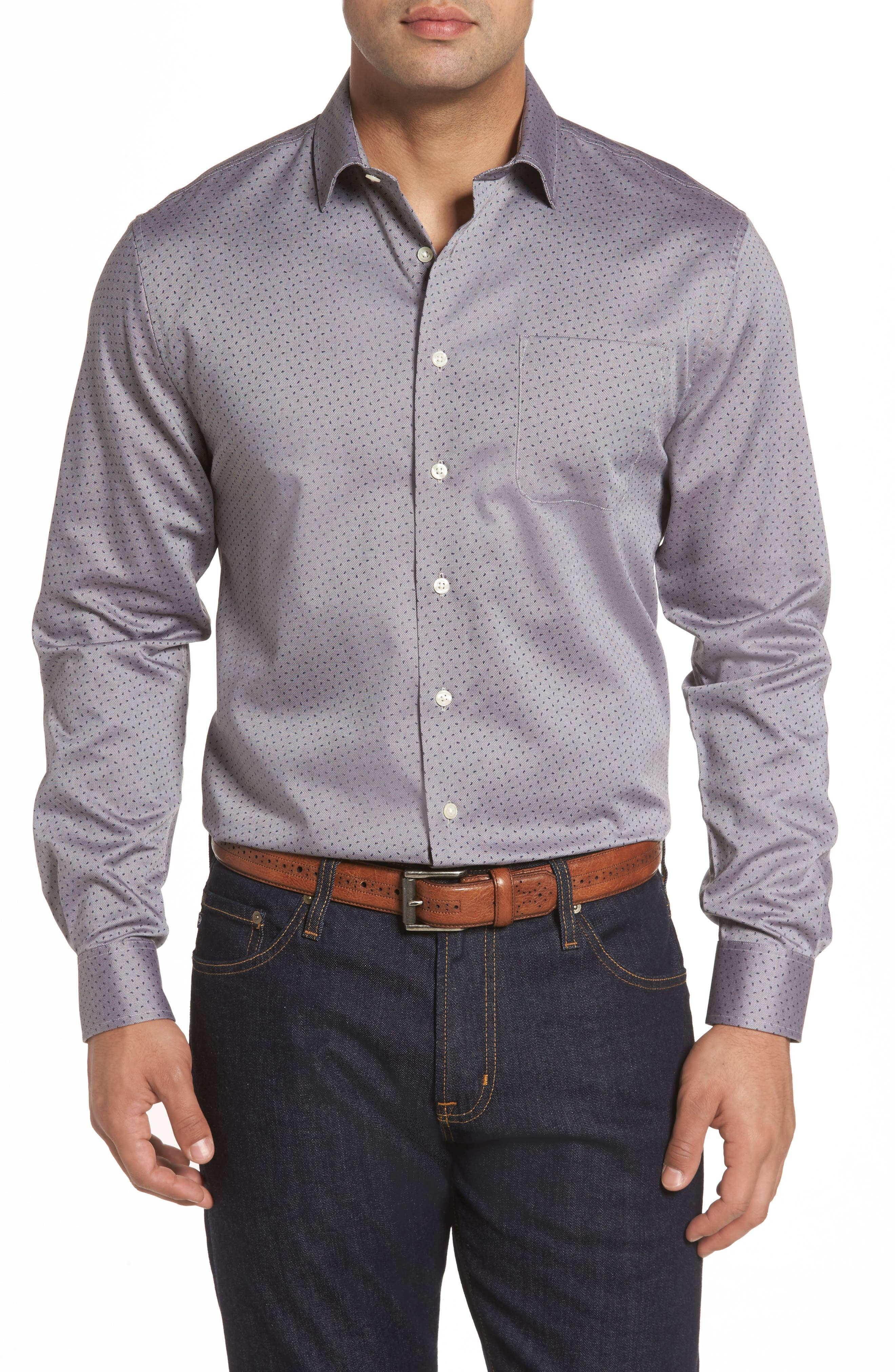 Gibson Classic Fit Print Sport Shirt,                         Main,                         color, Havana