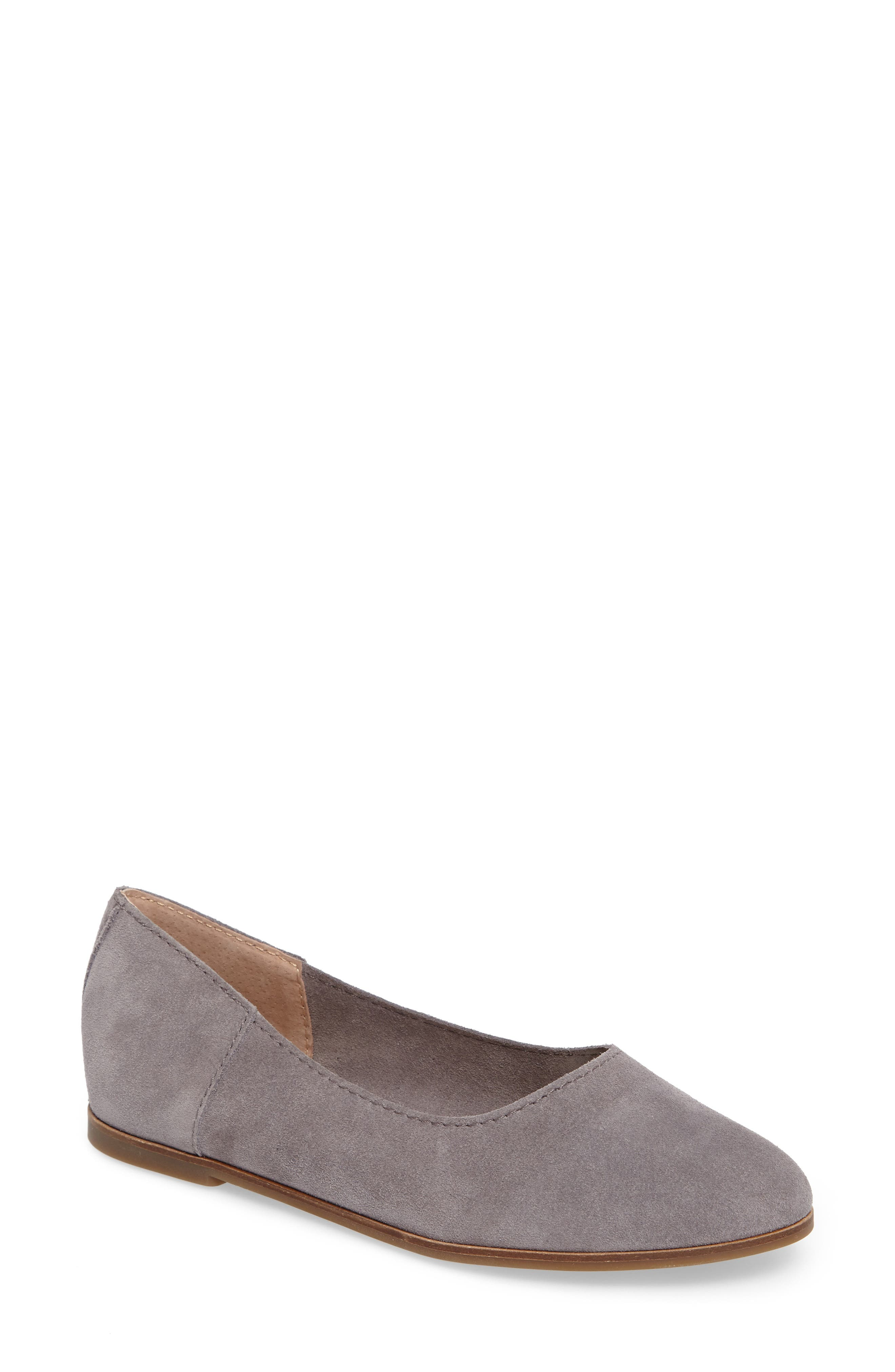 Calandra Flat,                             Main thumbnail 1, color,                             Steel Grey Suede