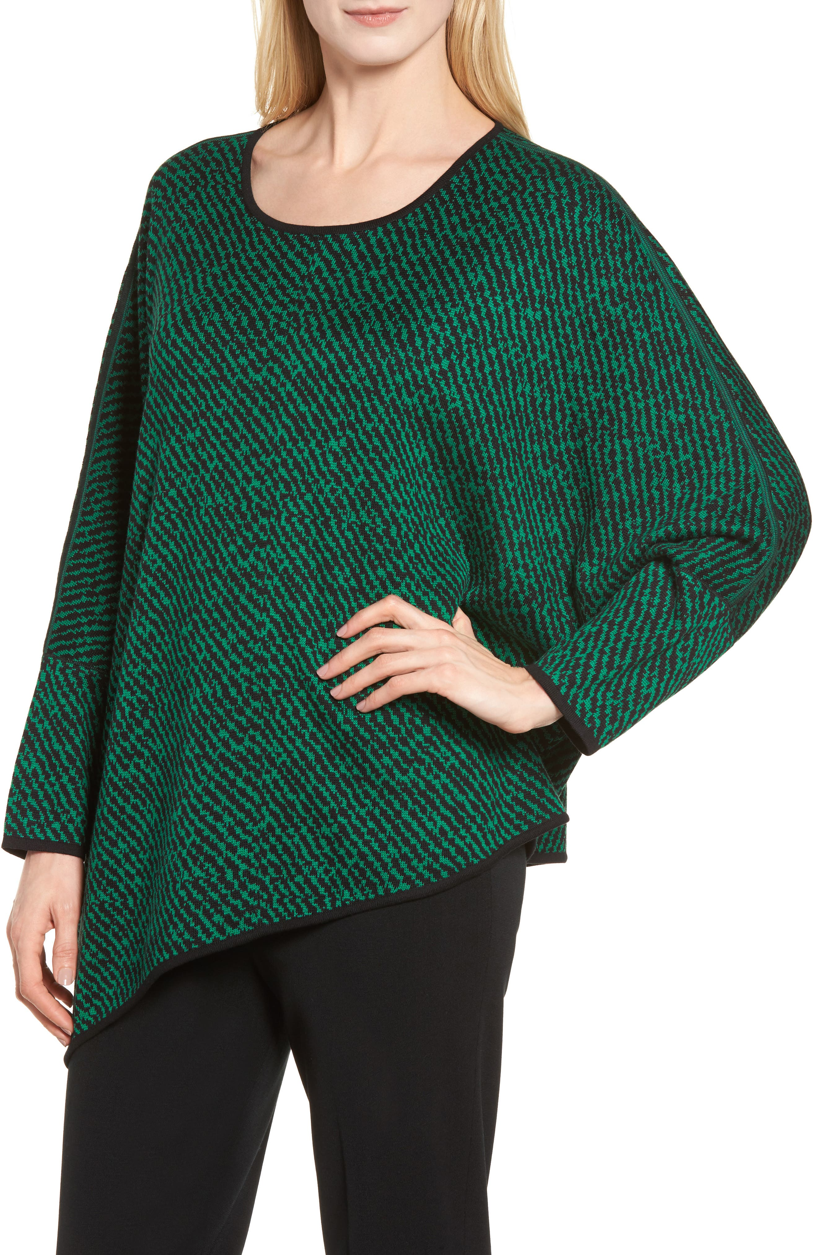 Asymmetrical Sweater,                             Alternate thumbnail 4, color,                             Black/ Viridian
