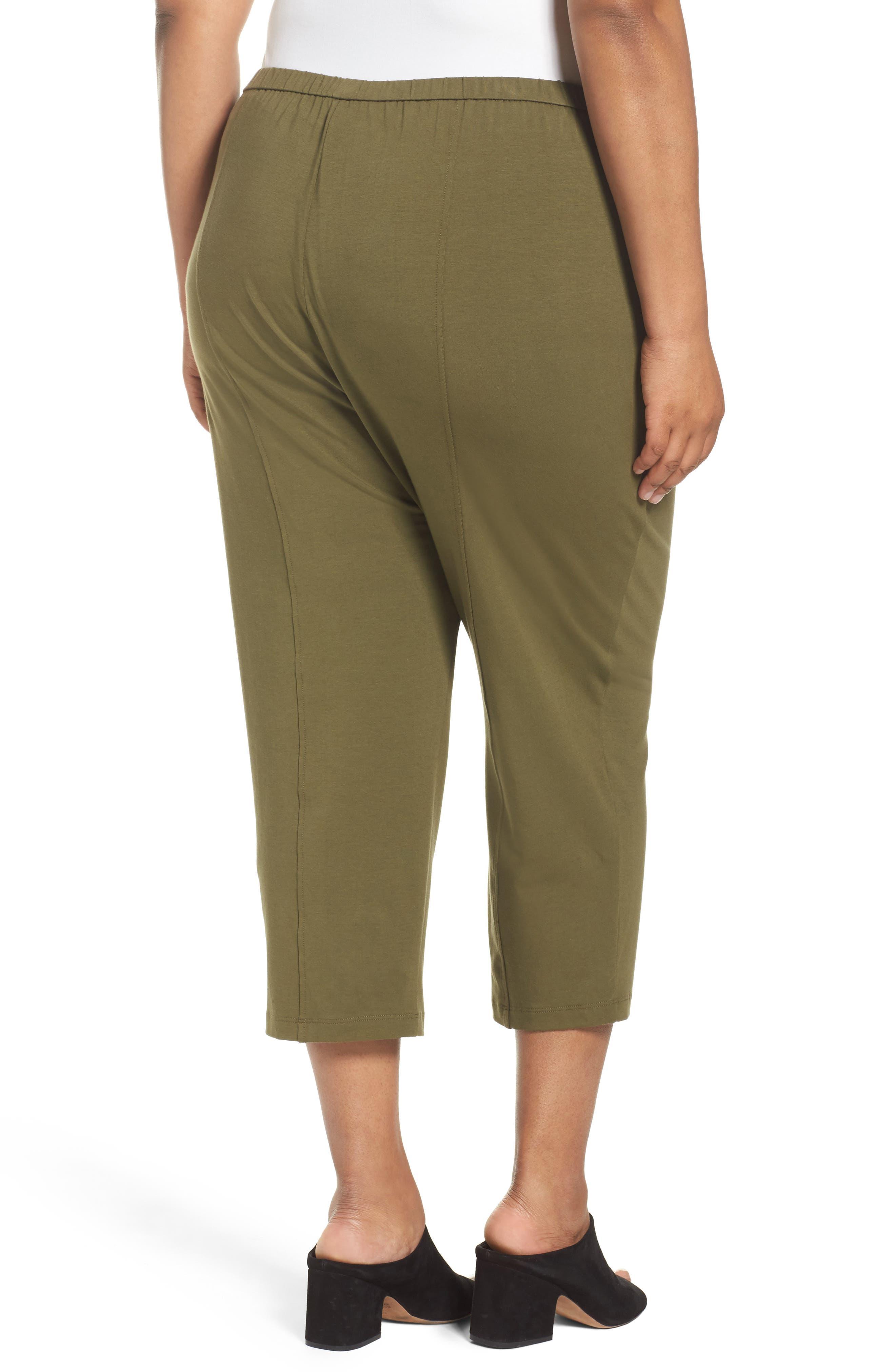 Alternate Image 2  - Eileen Fisher Stretch Organic Cotton Crop Pants (Plus Size)