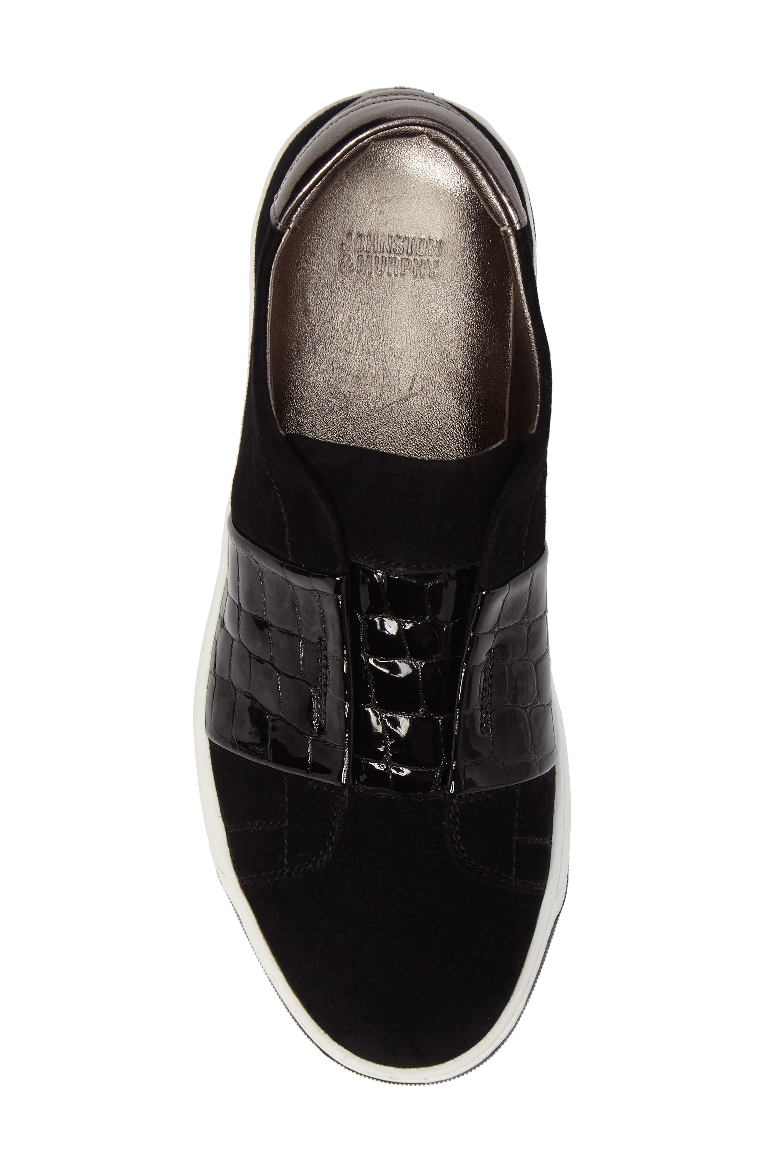 Eden Slip-On Sneaker,                             Alternate thumbnail 5, color,                             Black Suede