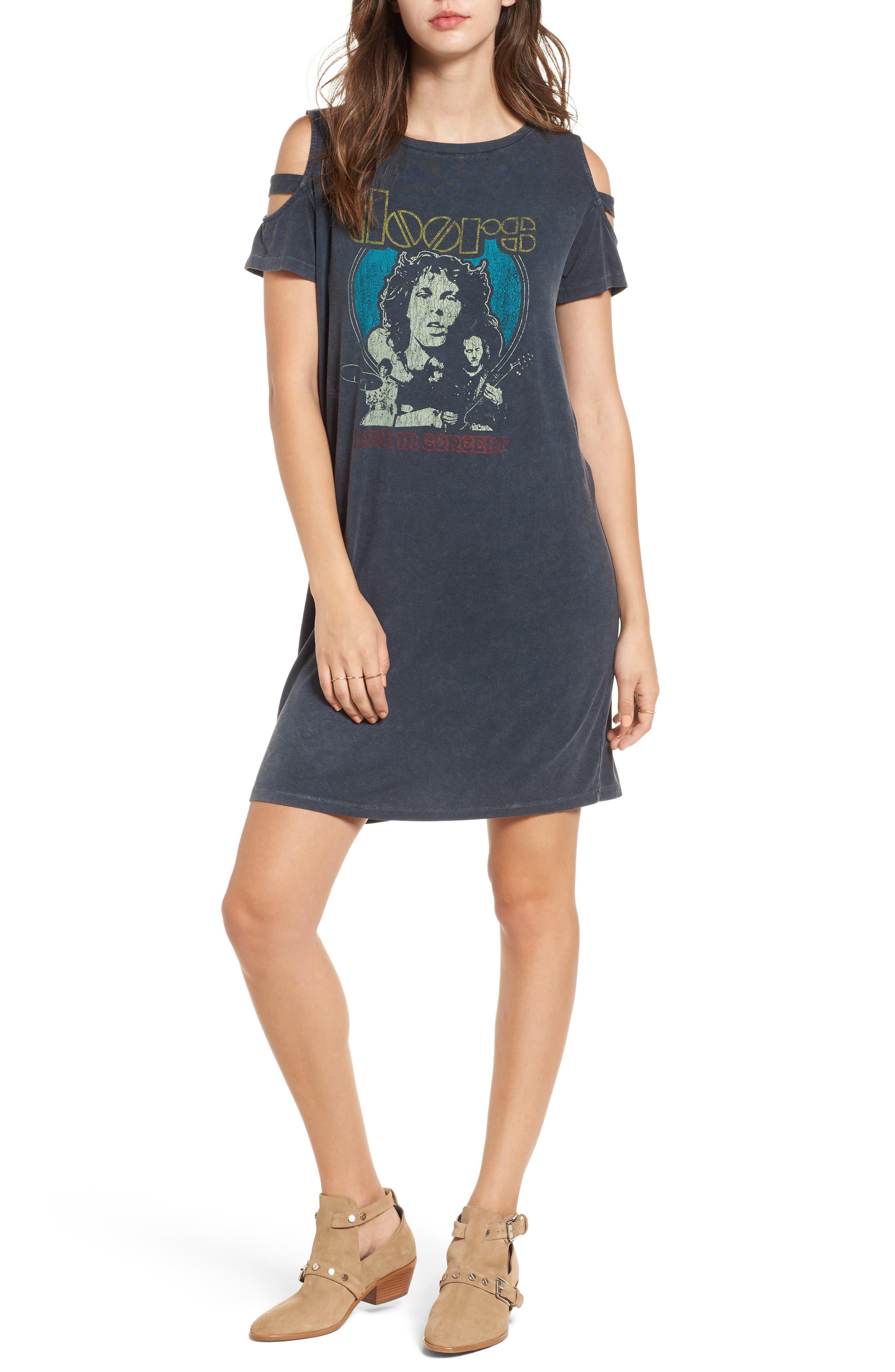 Doors Distressed Band T-Shirt Dress,                         Main,                         color, Charcoal