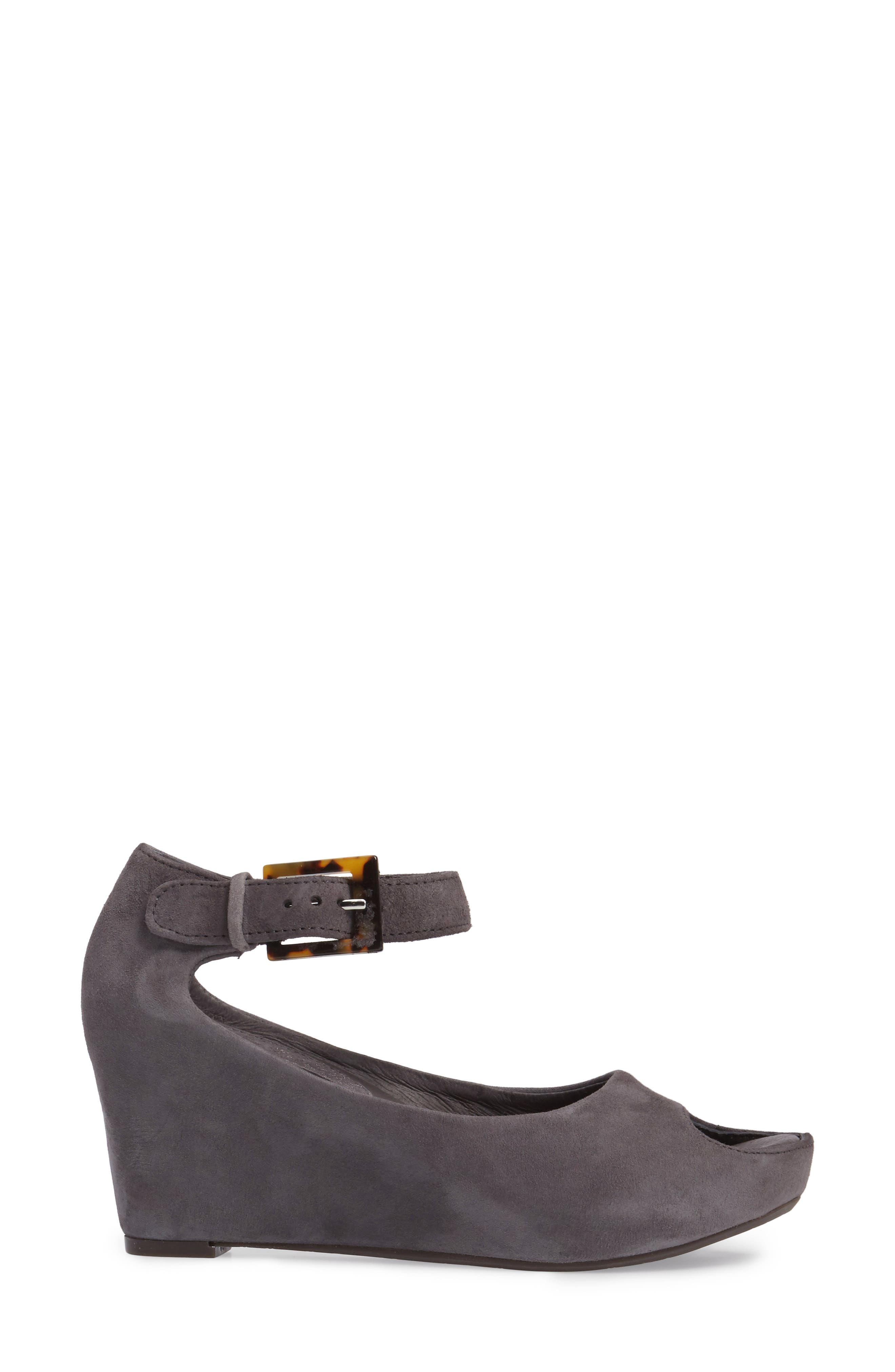 'Tricia' Ankle Strap Sandal,                             Alternate thumbnail 3, color,                             Gray Suede