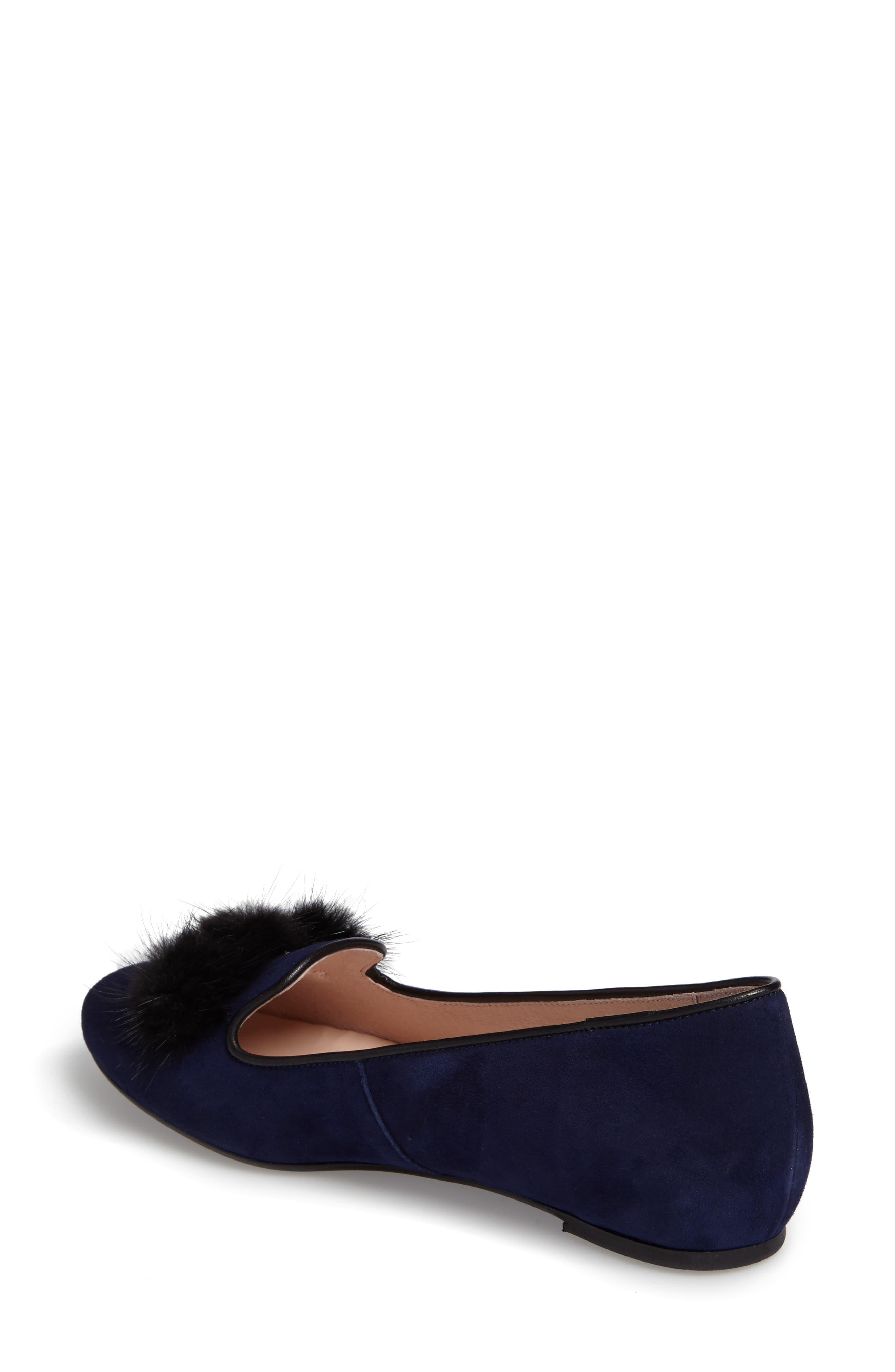 Wallis Genuine Fur Pompom Loafer,                             Alternate thumbnail 2, color,                             Navy Suede