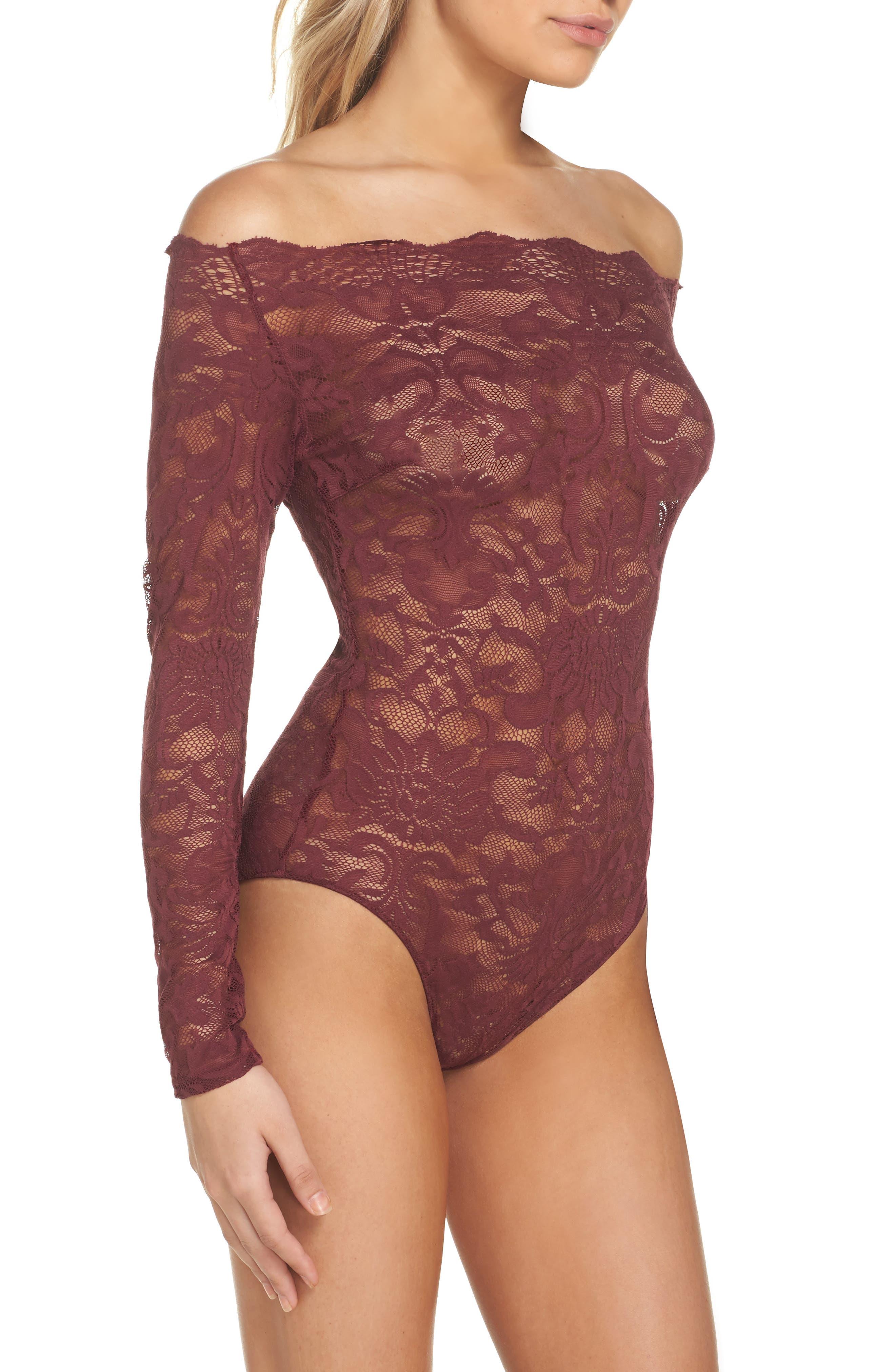 Eliza Off the Shoulder Lace Bodysuit,                             Alternate thumbnail 3, color,                             Tawny Port