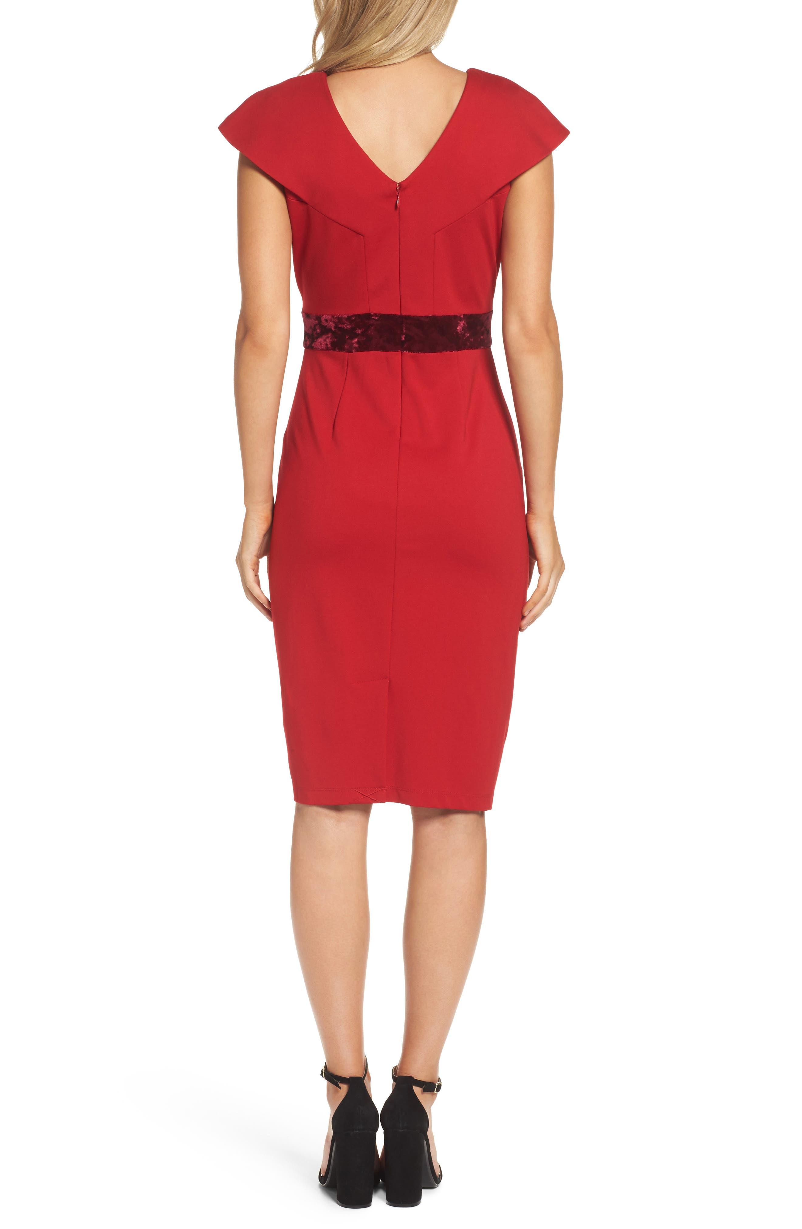 Velvet Trim Crepe Sheath Dress,                             Alternate thumbnail 2, color,                             Scarlet