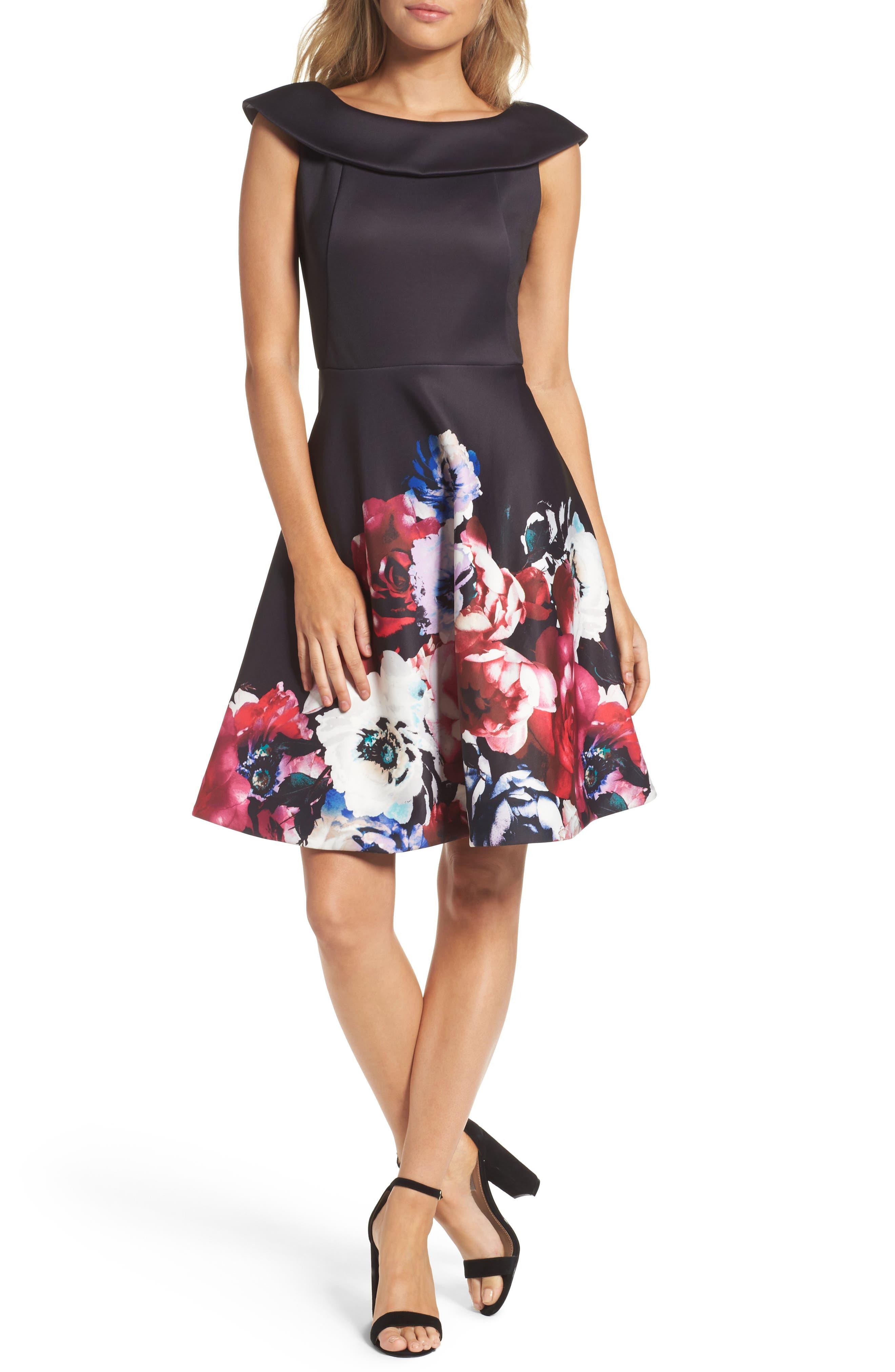 Scuba Knit Fit & Flare Dress,                         Main,                         color, Black Raspberry