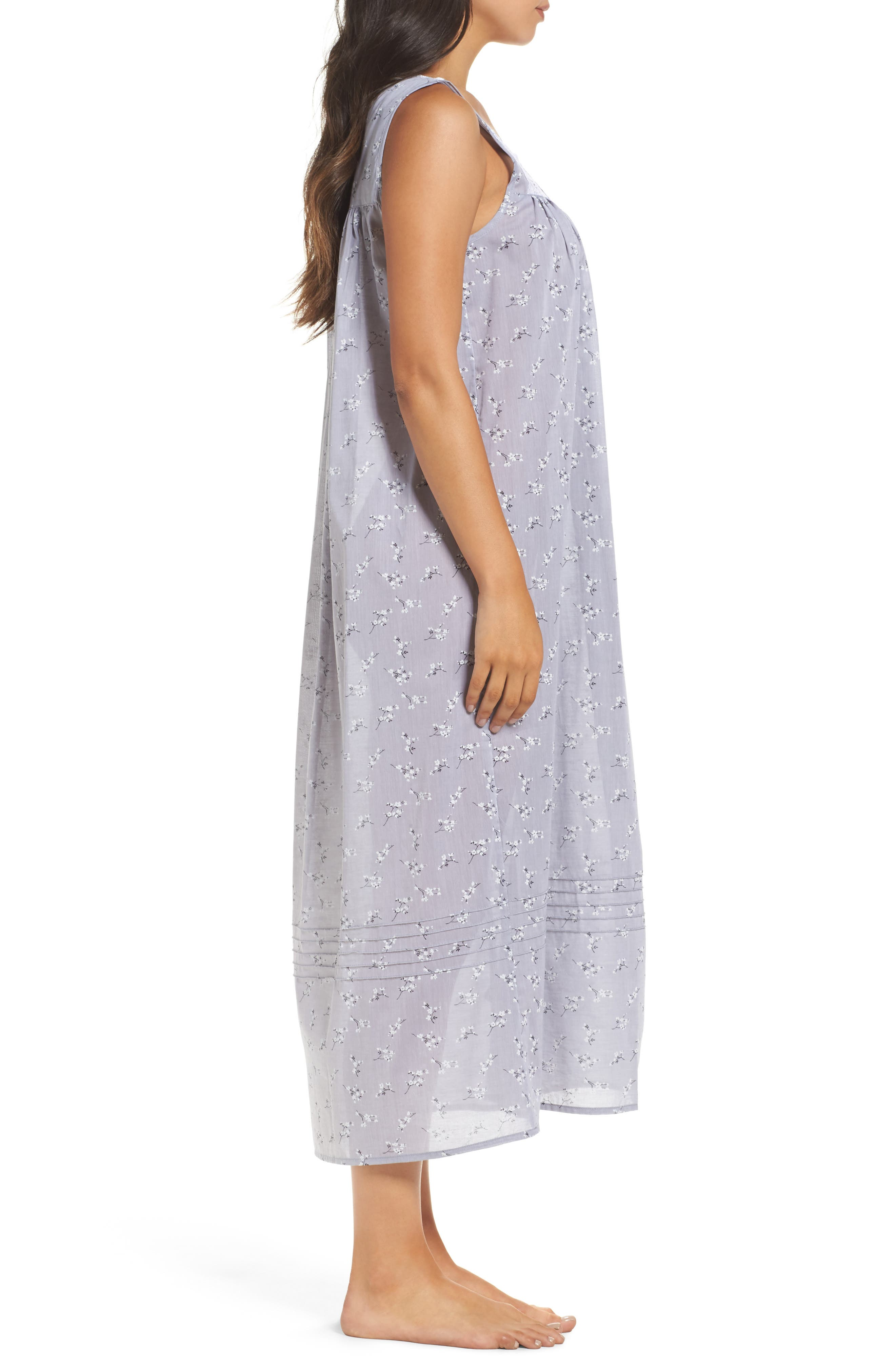 Pintuck Ballet Nightgown,                             Alternate thumbnail 3, color,                             Grey
