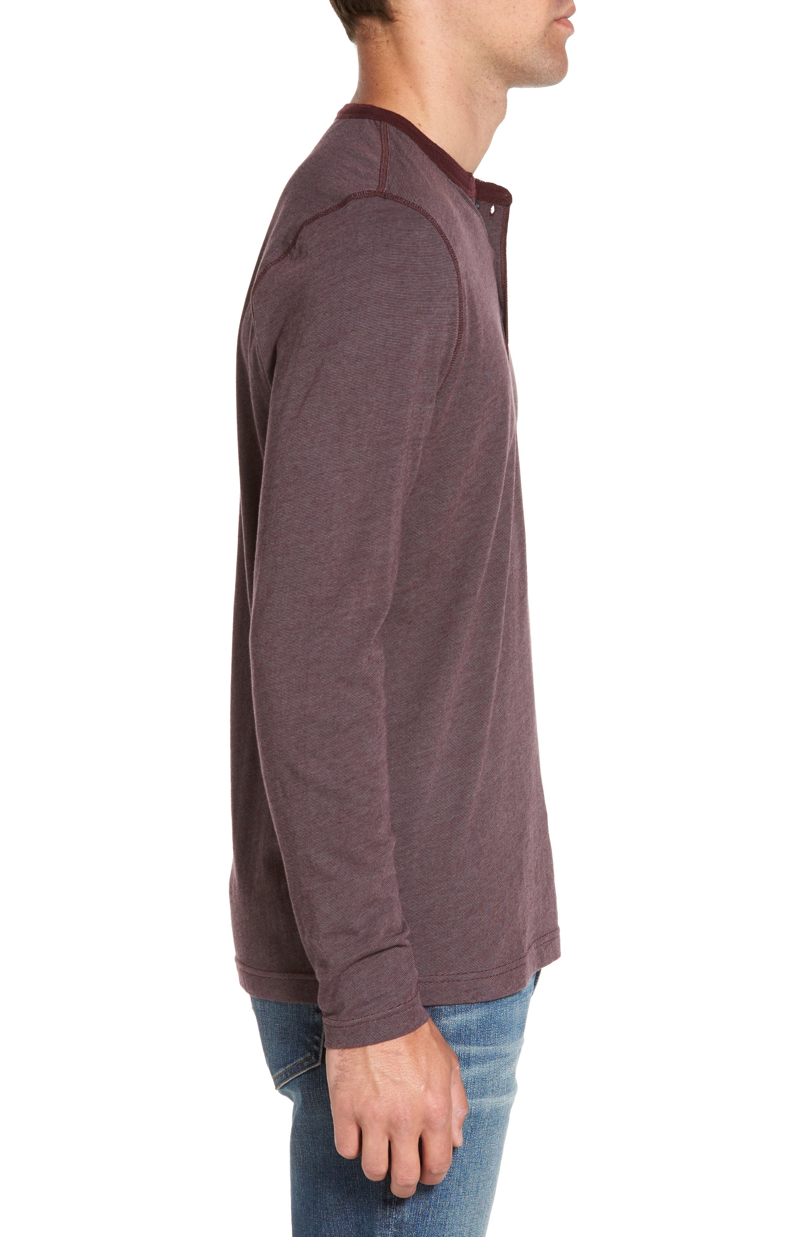 Stripe Henley,                             Alternate thumbnail 3, color,                             Burgundy Stem Eoe