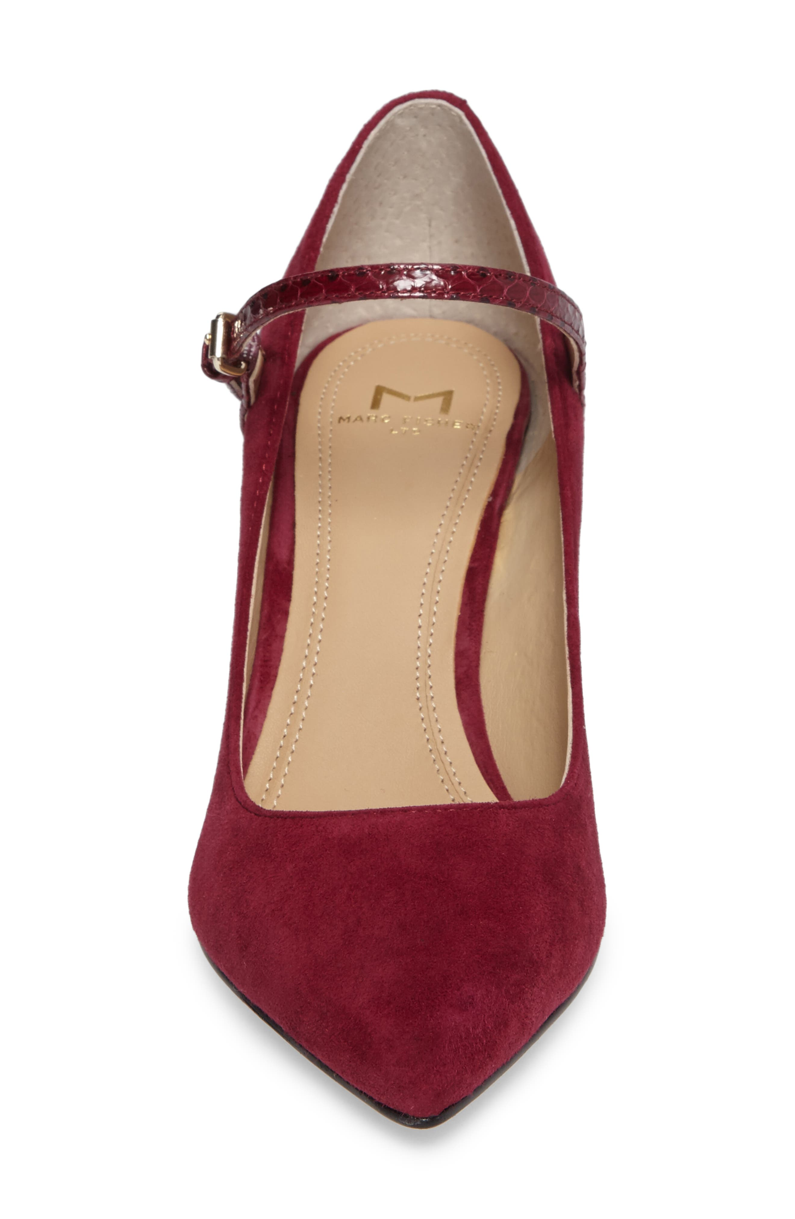 Zullys Snake Embossed Mary Jane Pump,                             Alternate thumbnail 4, color,                             Berry/ Berry Leather