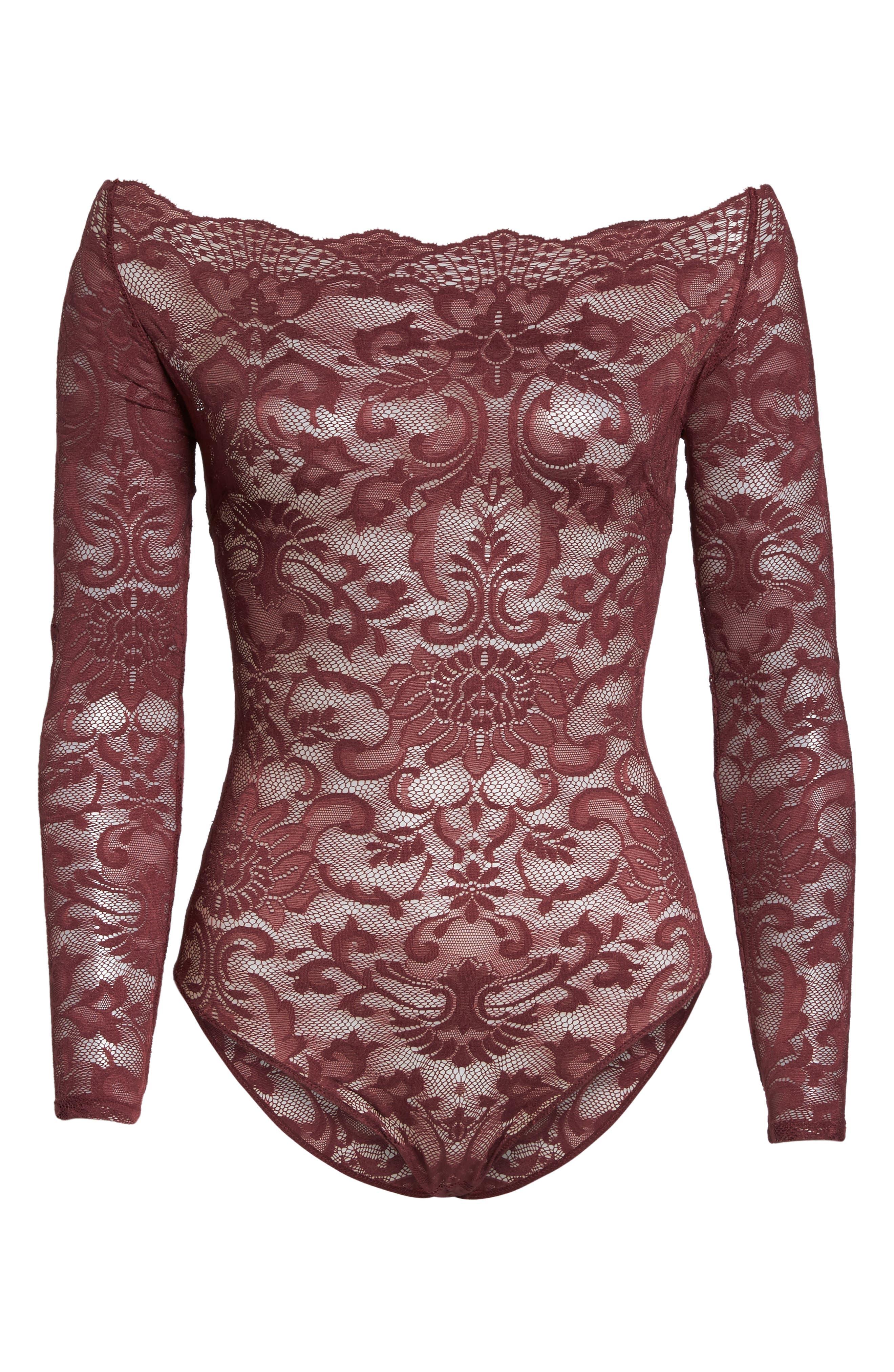 Eliza Off the Shoulder Lace Bodysuit,                             Alternate thumbnail 4, color,                             Tawny Port
