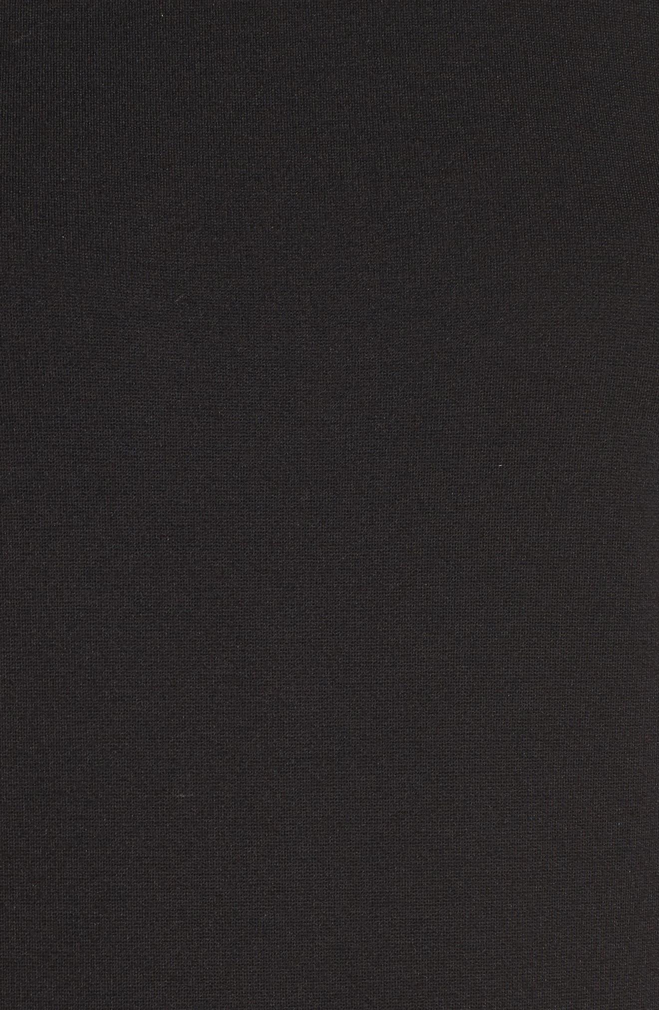 Tassel Midi Dress,                             Alternate thumbnail 5, color,                             Black