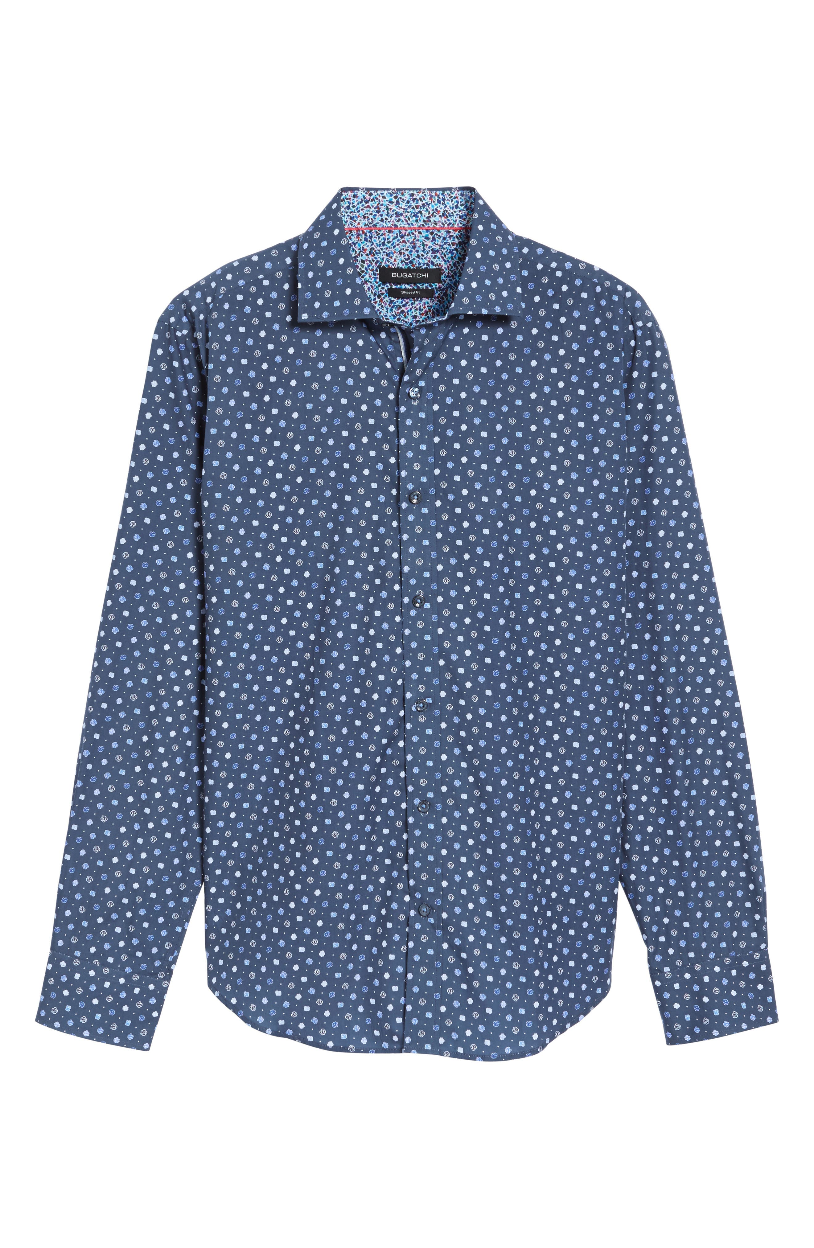 Shaped Fit Flower Print Sport Shirt,                             Alternate thumbnail 7, color,                             Navy