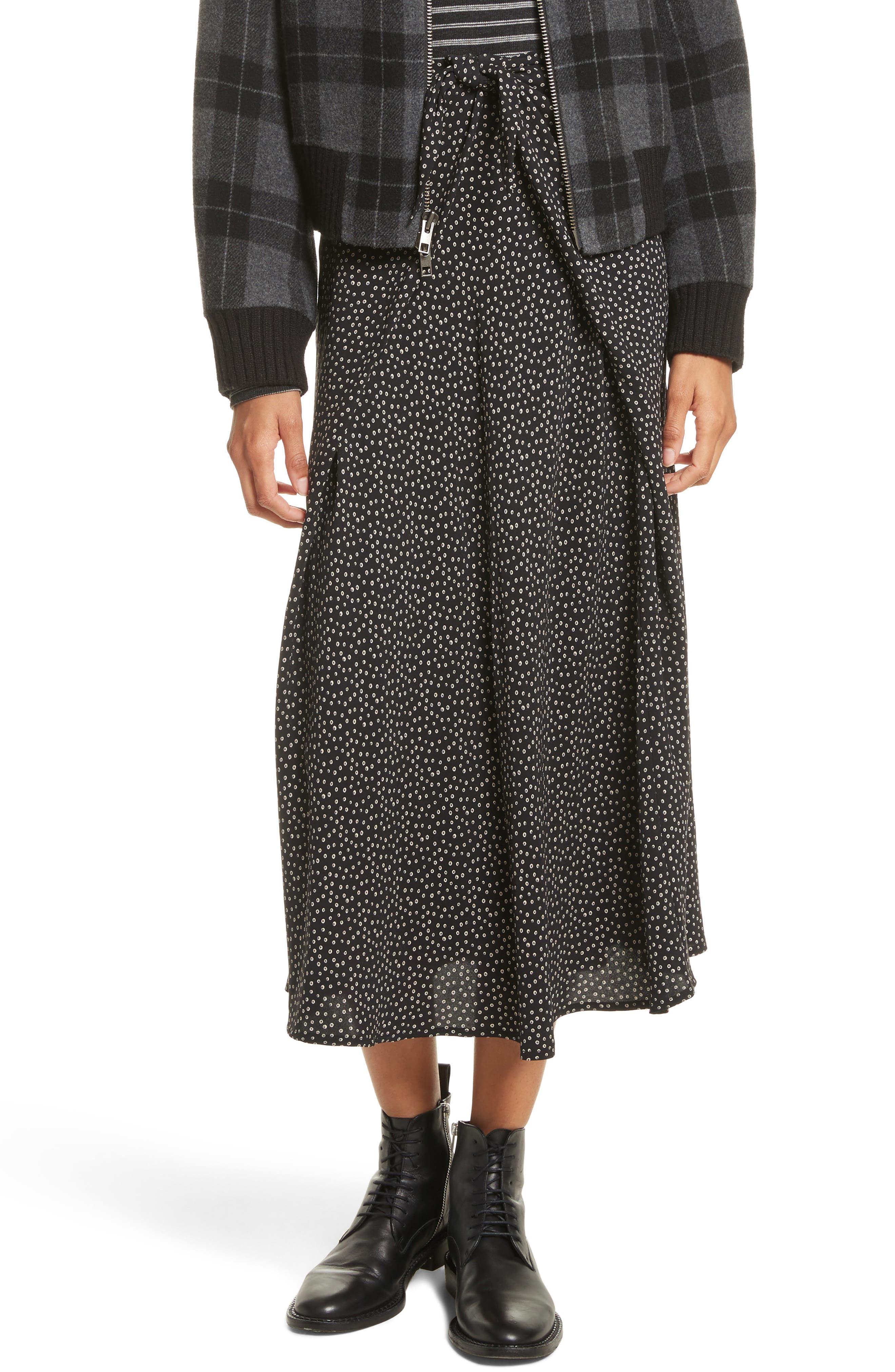 Celestial Polka Dot Skirt,                         Main,                         color, Black/ Dark Wolf