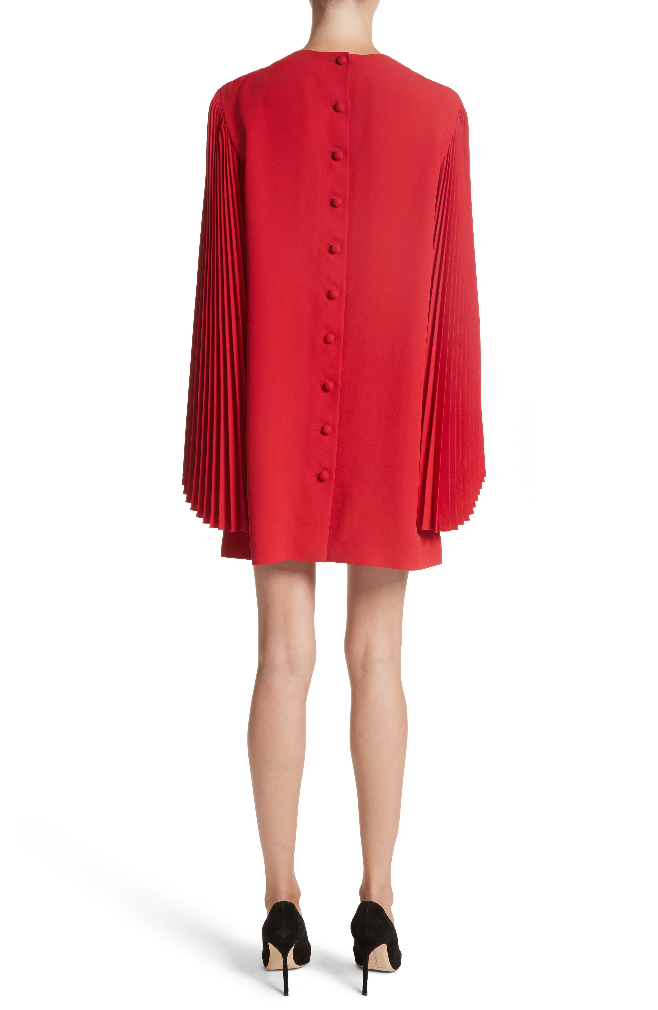 Pleated Sleeve Crepe Cady Dress,                             Alternate thumbnail 2, color,                             Red