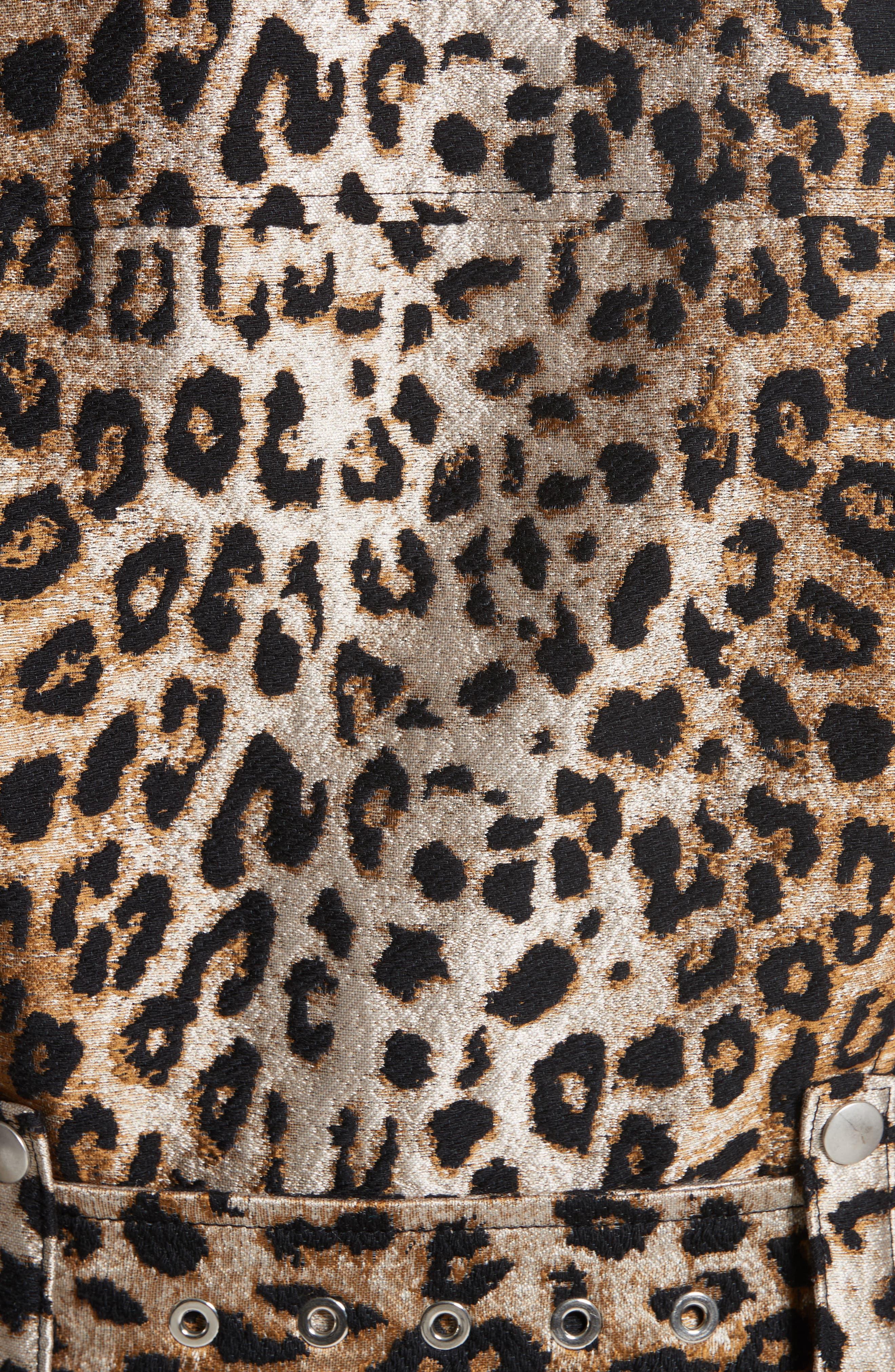 Leopard Jacquard Trench Coat,                             Alternate thumbnail 6, color,                             Leopard