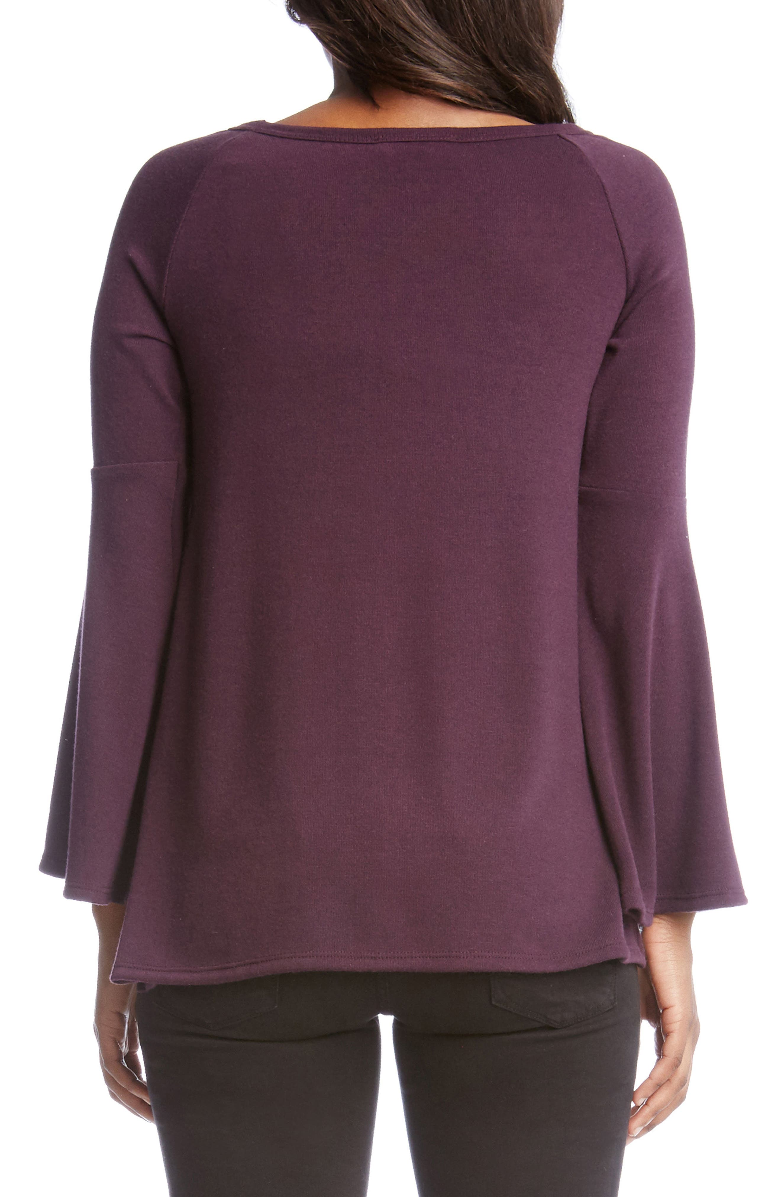 Bell Sleeve Sweater,                             Alternate thumbnail 2, color,                             Eggplant