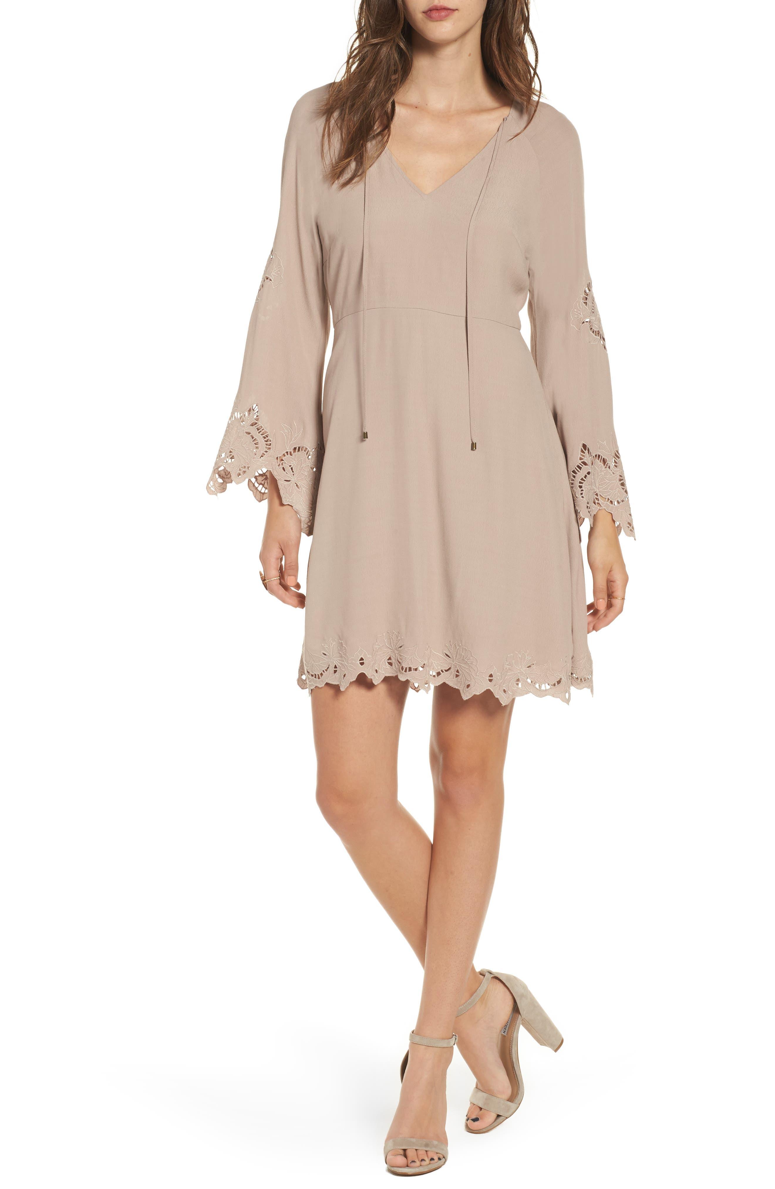 Fern Fit & Flare Dress,                         Main,                         color, Faded Mauve