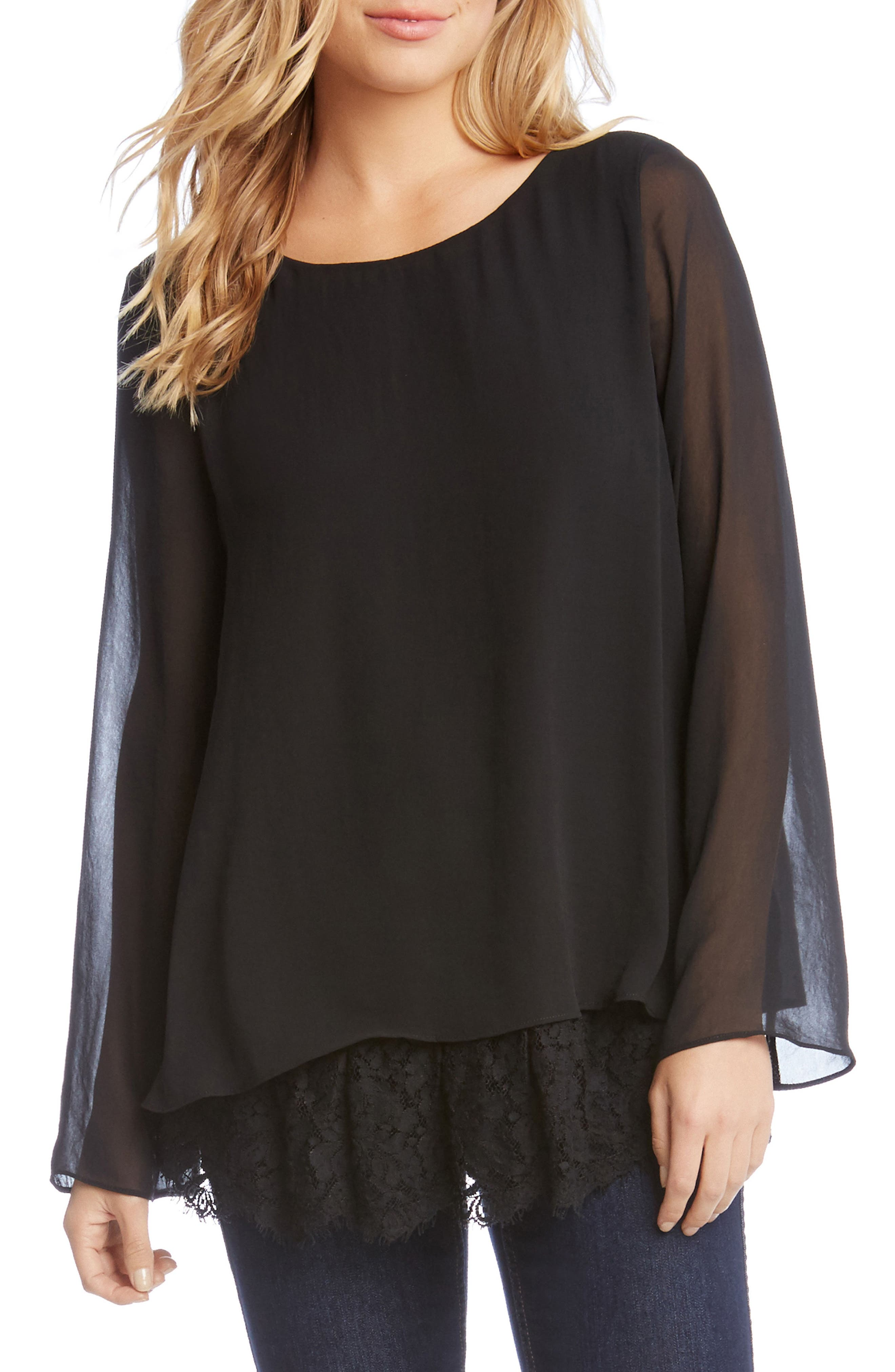 Lace Hem Tank with Sheer Overlay,                         Main,                         color, Black
