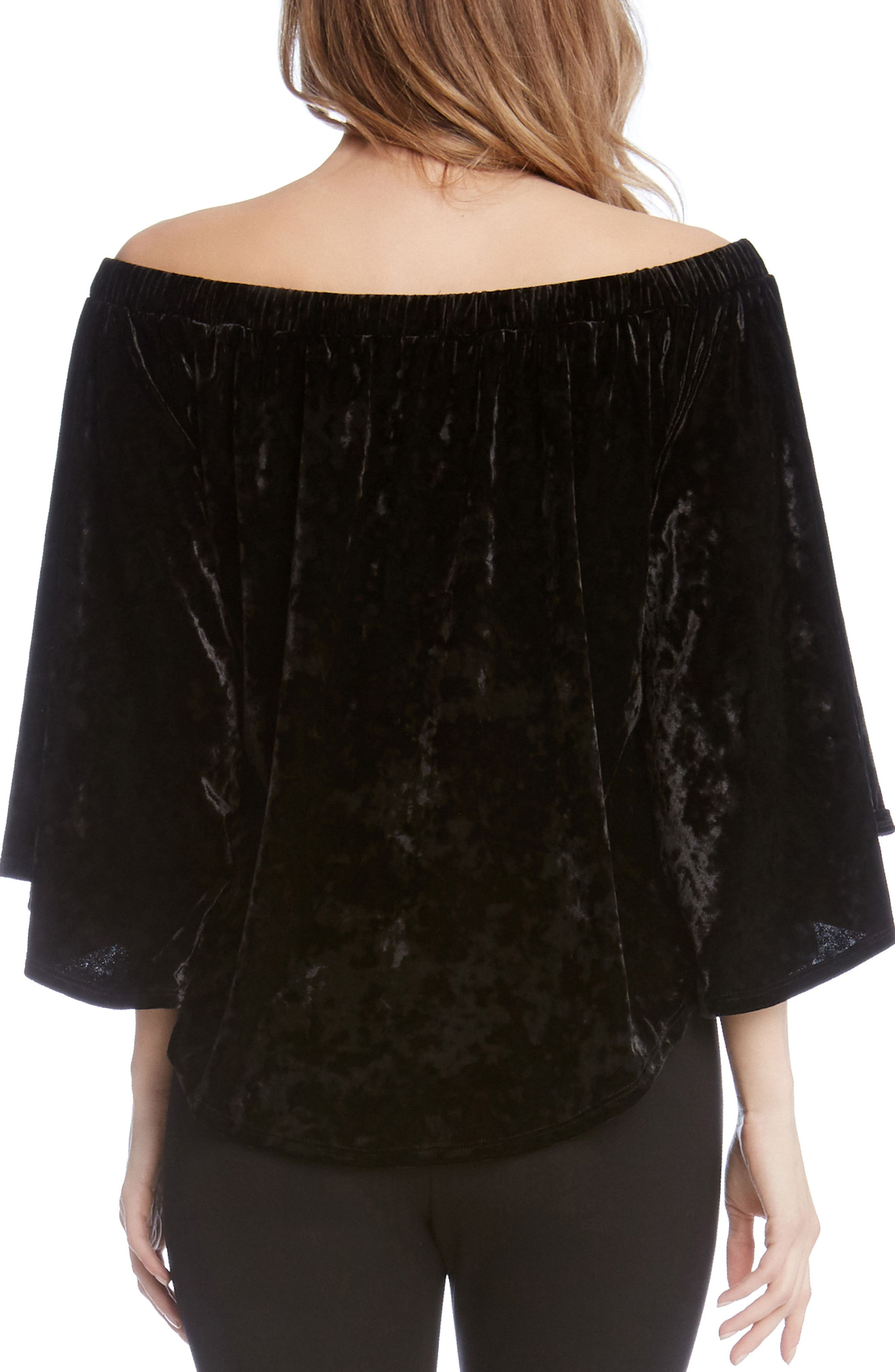 Kane Karen Off the Shoulder Velvet Top,                             Alternate thumbnail 2, color,                             Black