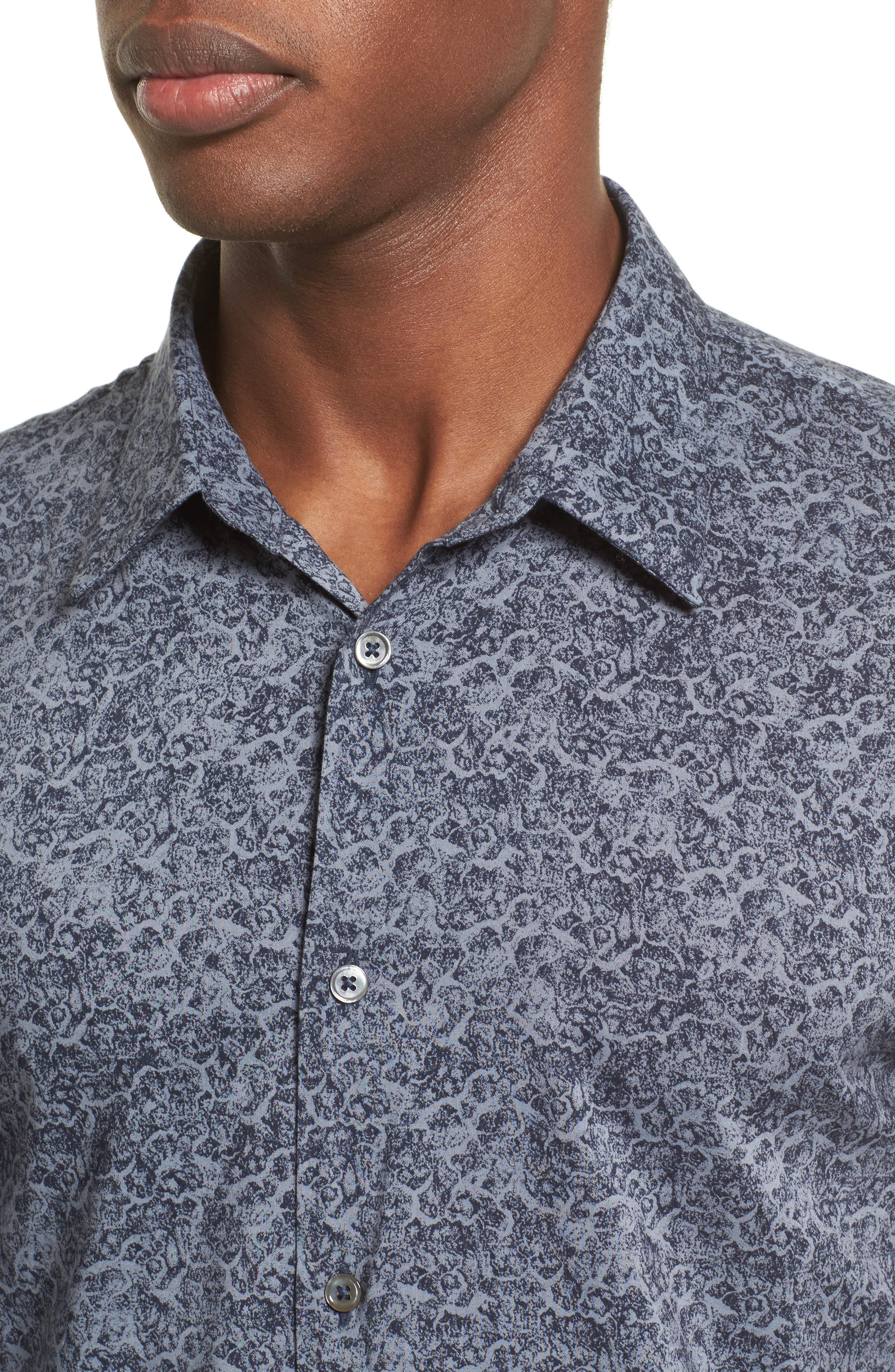 Classic Fit Paisley Sport Shirt,                             Alternate thumbnail 4, color,                             Dusted Blue