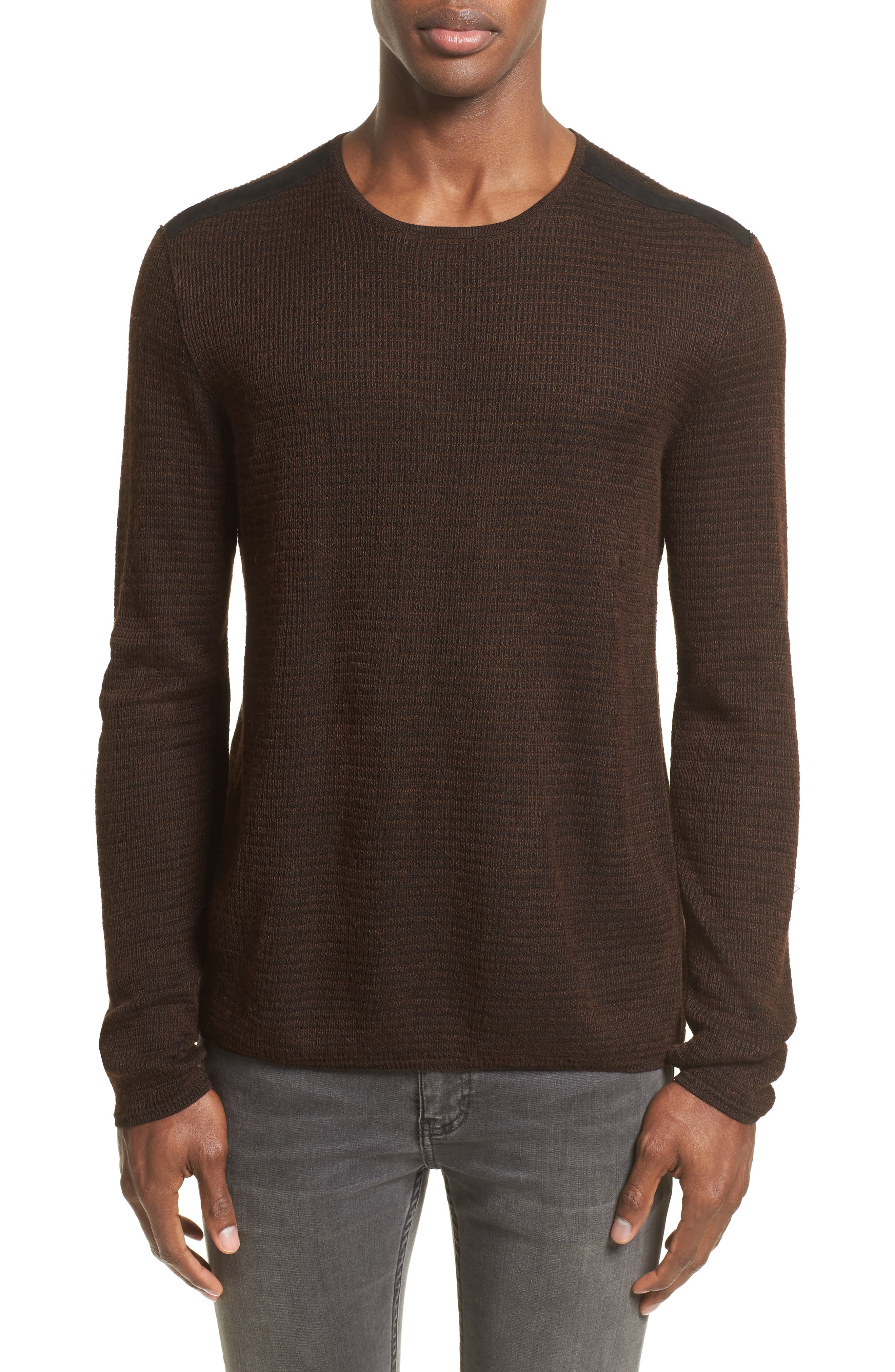 Waffle Knit Sweater,                         Main,                         color, Wood Brown