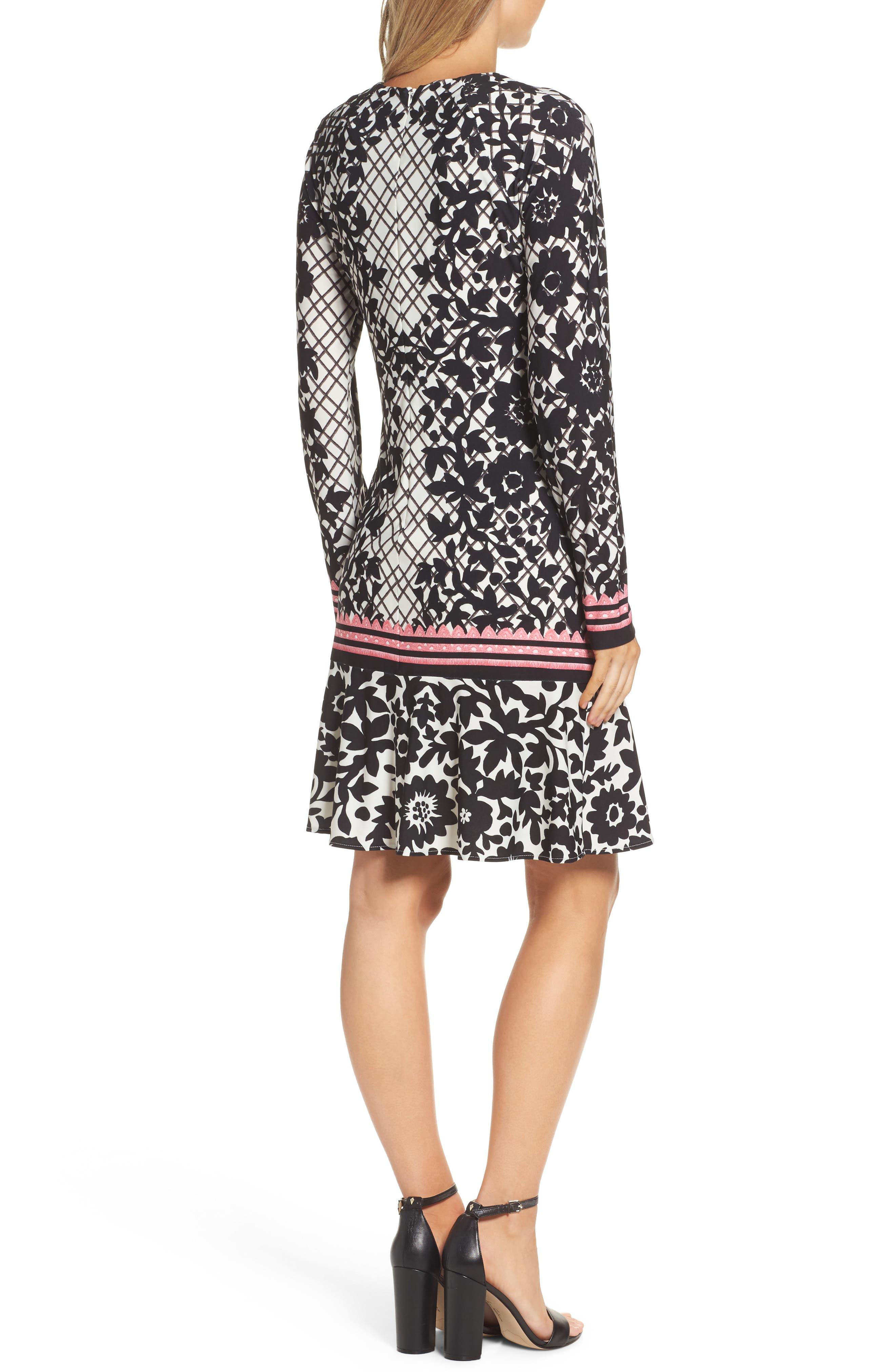 Print Knit Trumpet Dress,                             Alternate thumbnail 3, color,                             Black/ Pink