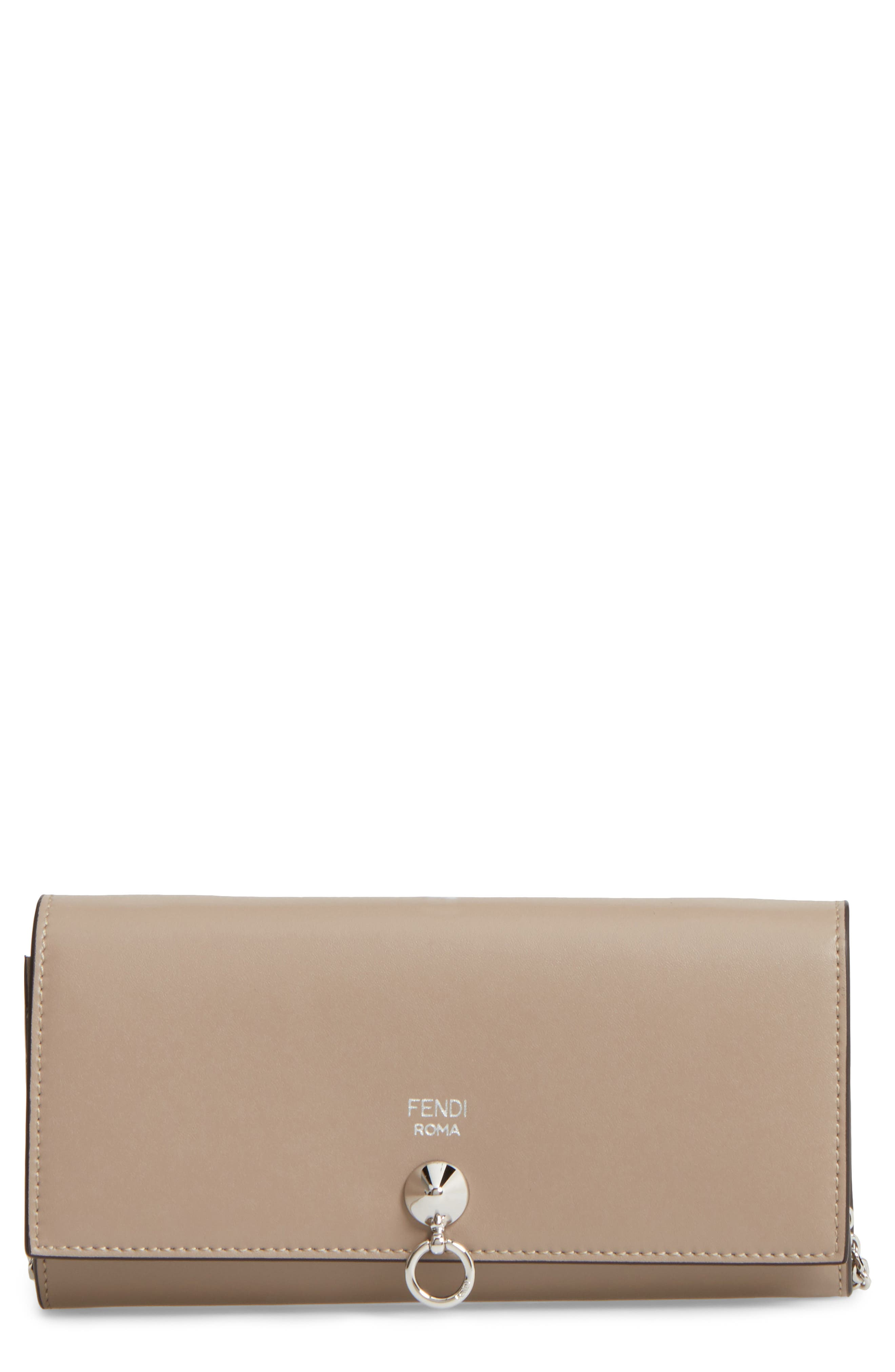 Calfskin Leather Wallet on a Chain,                         Main,                         color, Tortora